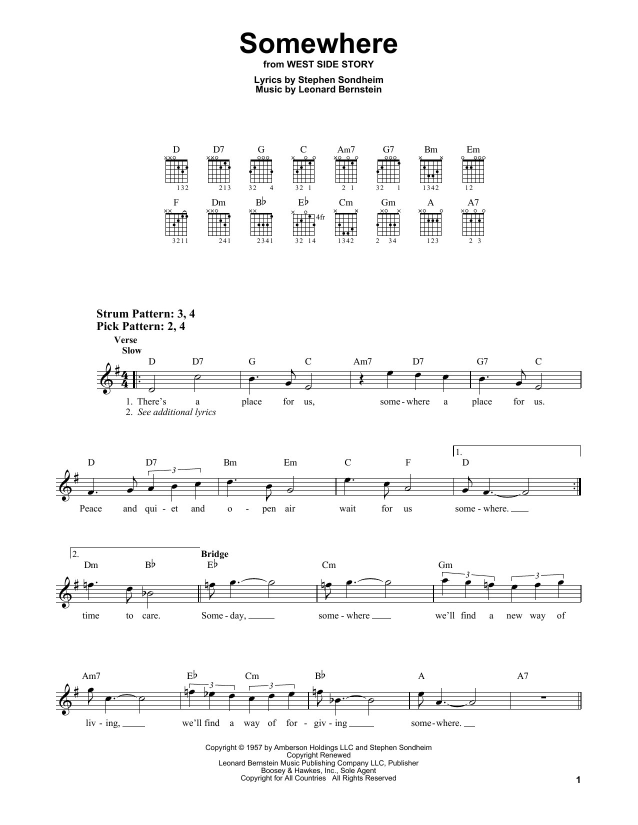 Somewhere (from West Side Story) (Easy Guitar)