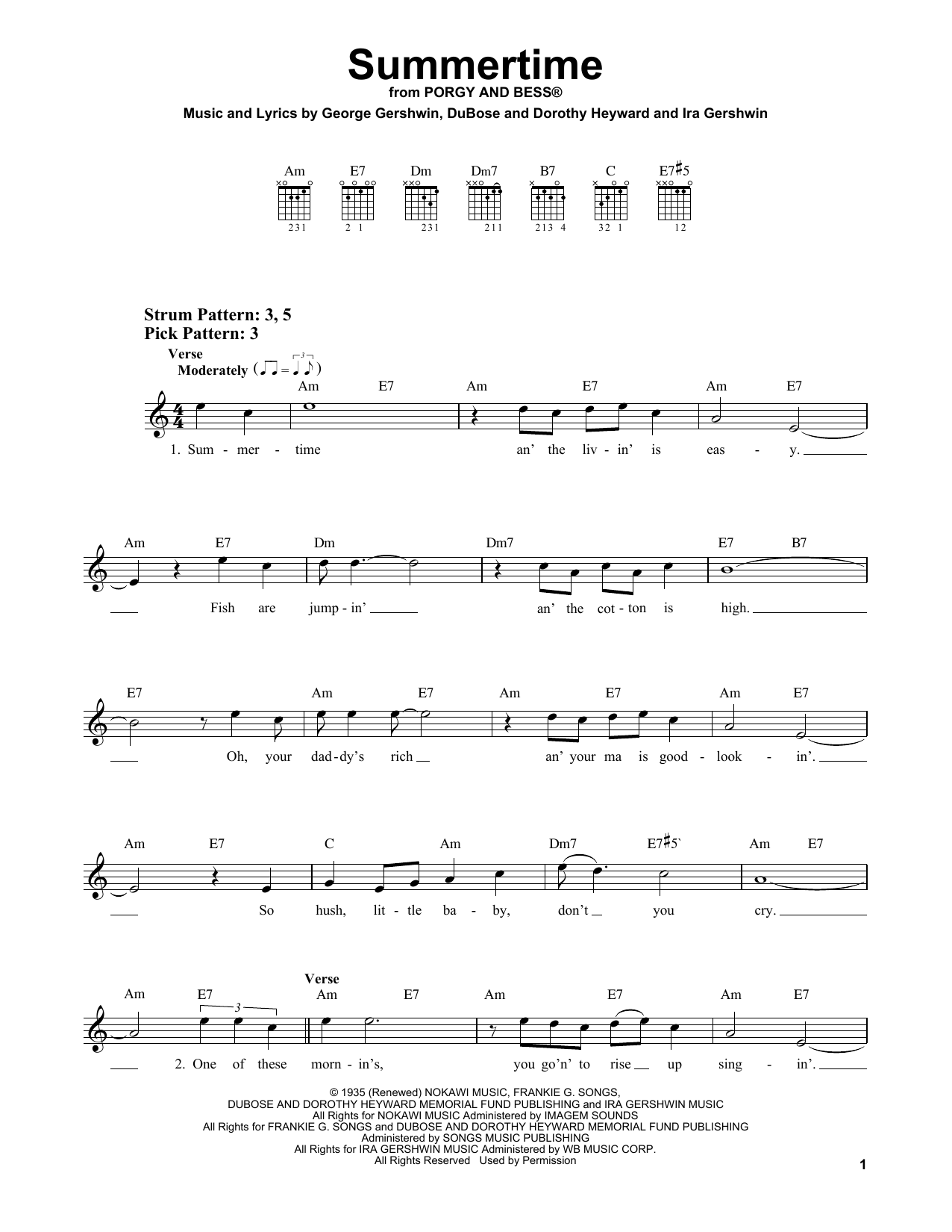 Summertime (from Porgy and Bess) (Easy Guitar)