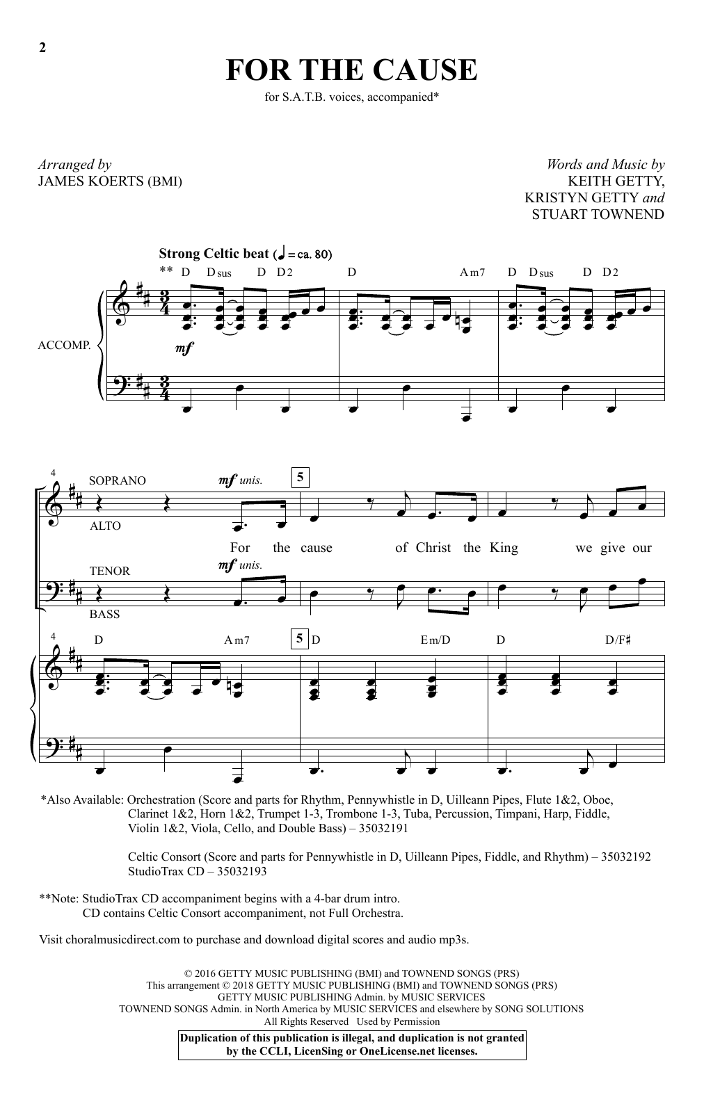 For the Cause (arr. James Koerts) (SATB Choir)