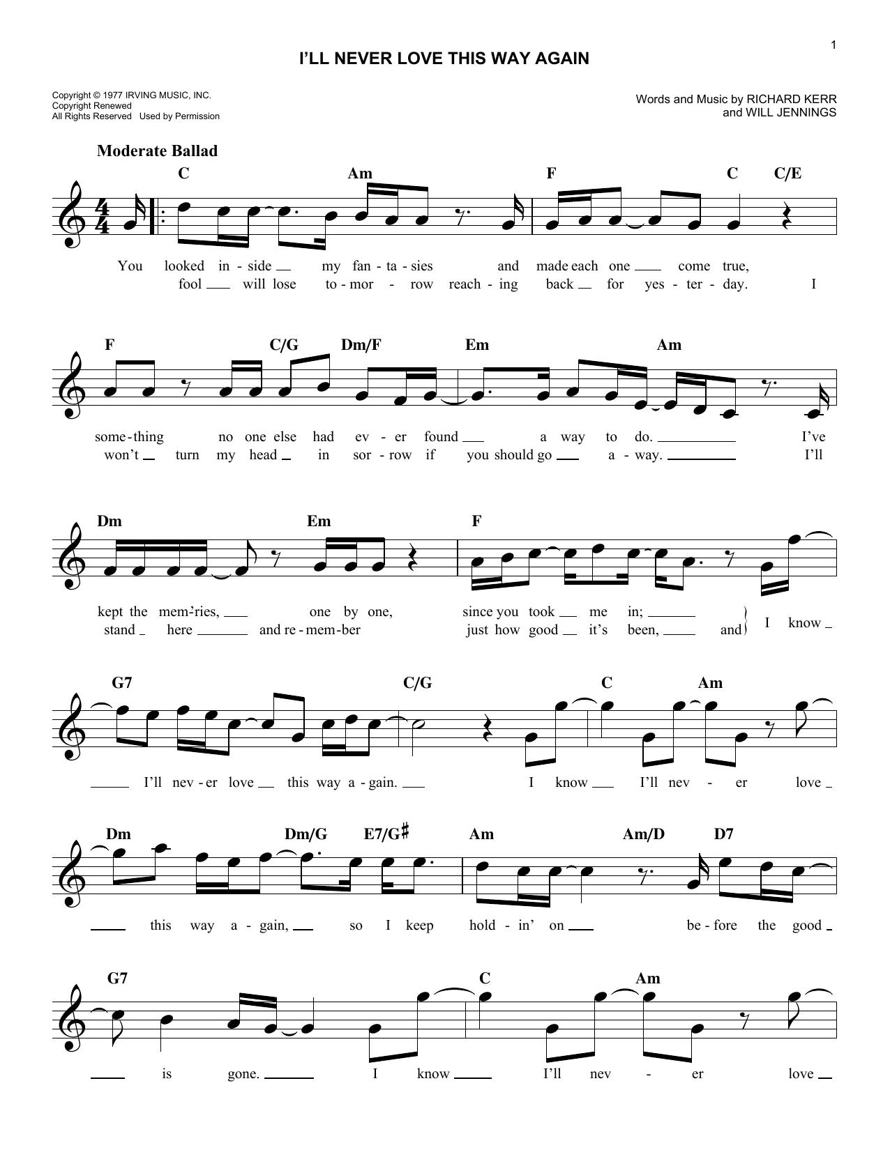 I'll Never Love This Way Again Sheet Music