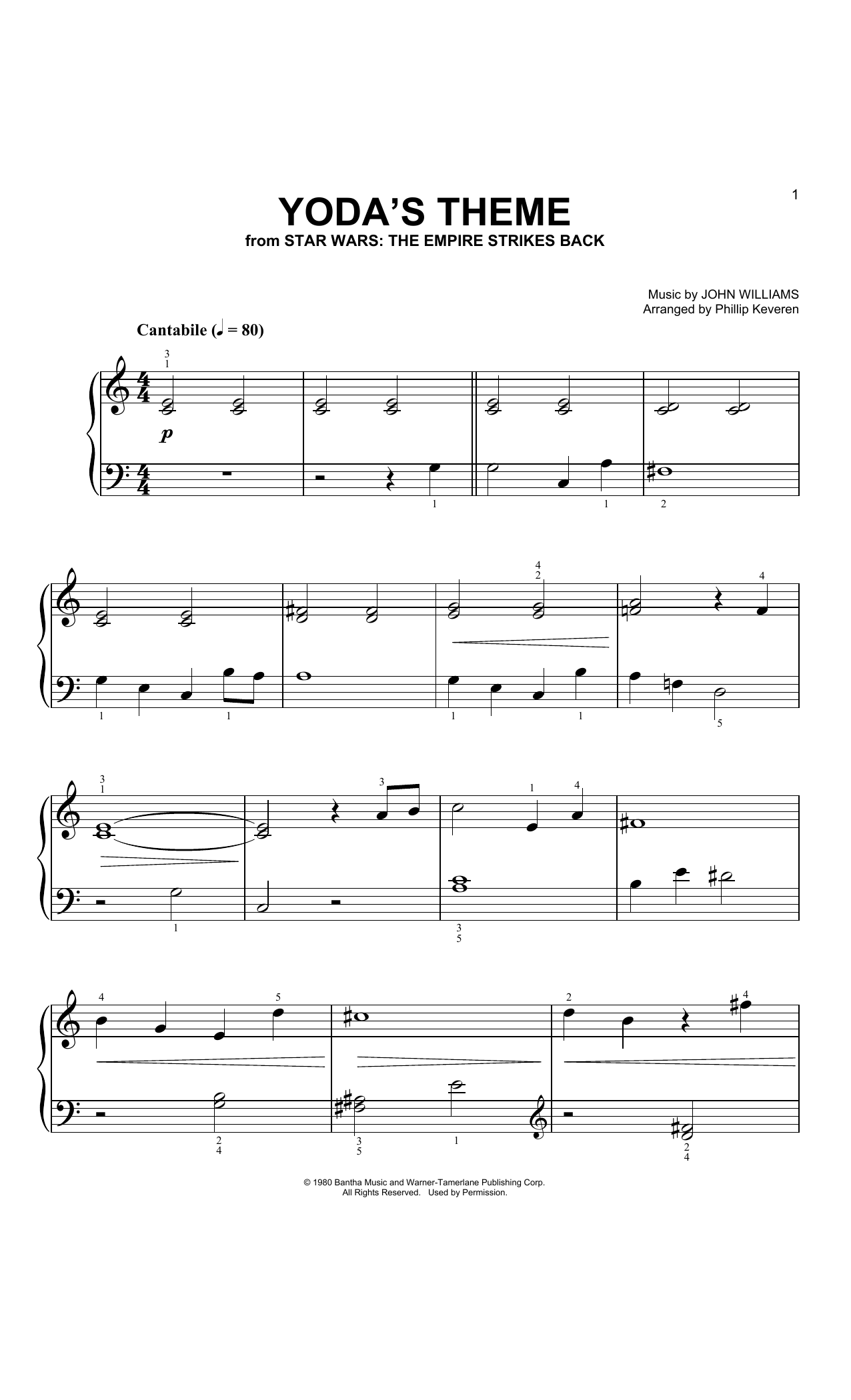 Yoda's Theme (from Star Wars: The Empire Strikes Back) (arr. Phillip Keveren) (Big Note Piano)