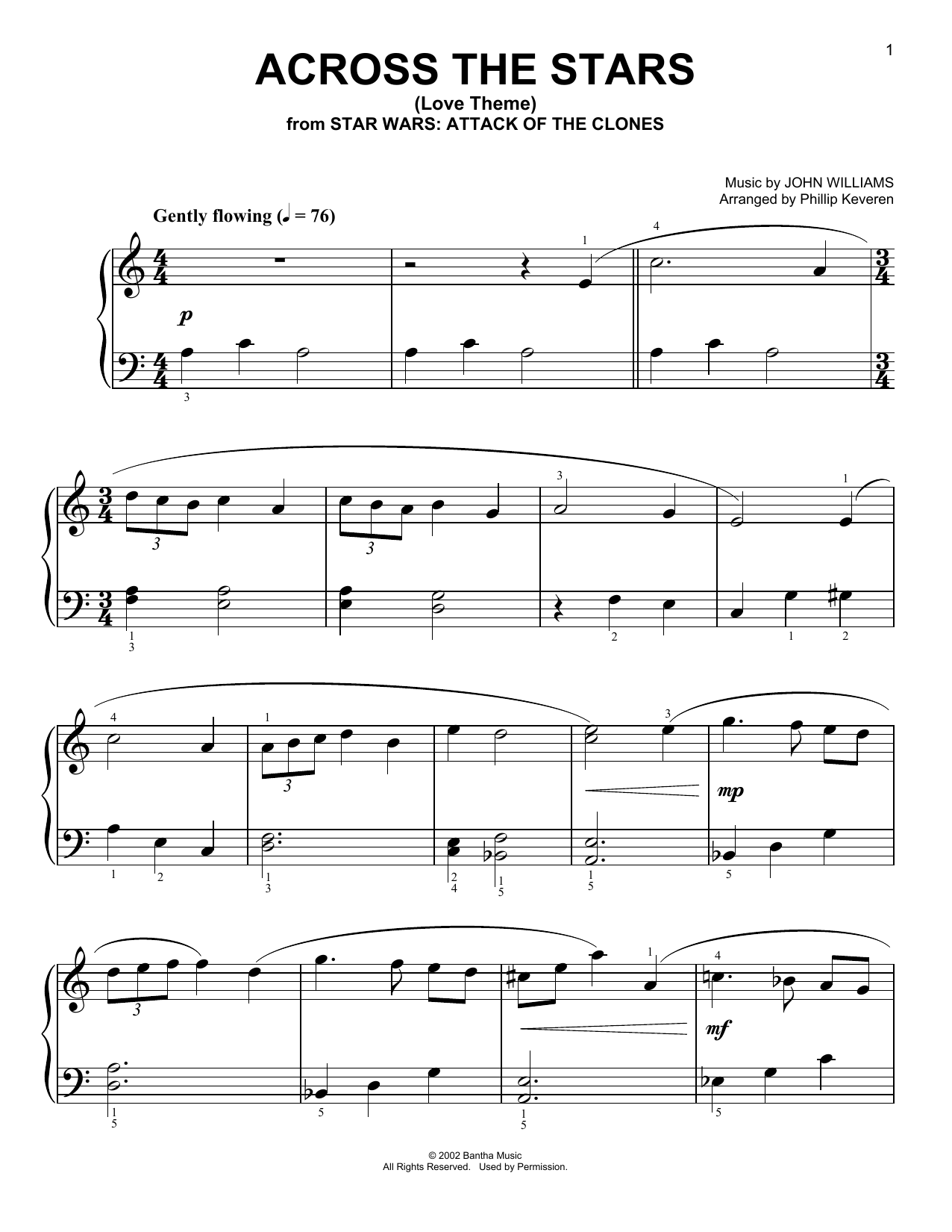 Across The Stars (from Star Wars: Attack of the Clones) (arr. Phillip Keveren) (Big Note Piano)