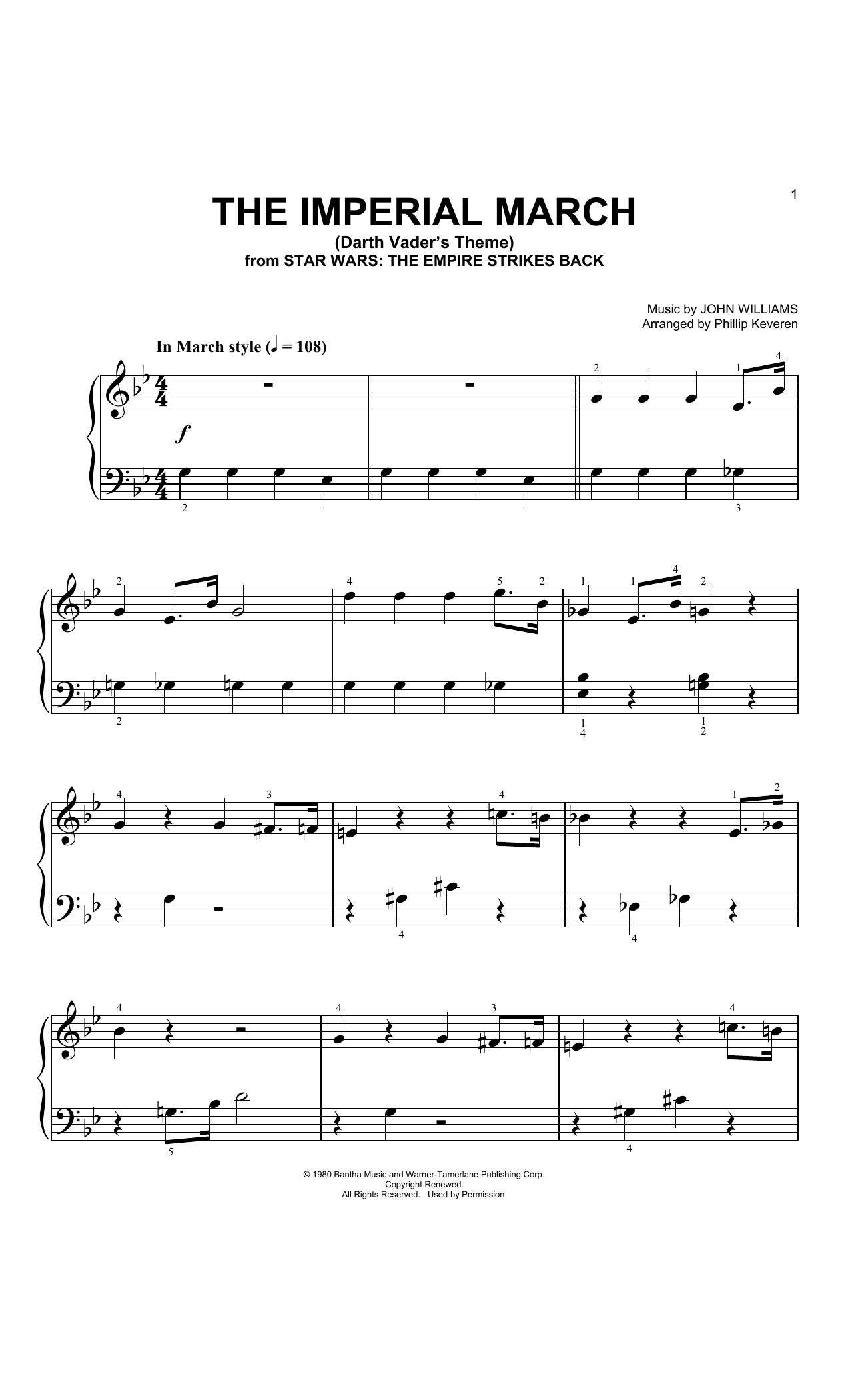 The Imperial March  (Arr. Phillip Keveren) (Big Note Piano)