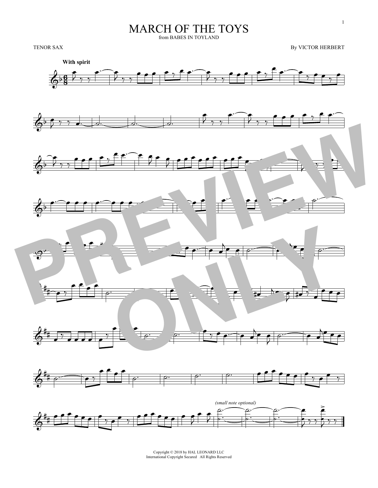 March Of The Toys (from Babes In Toyland) (Tenor Sax Solo)
