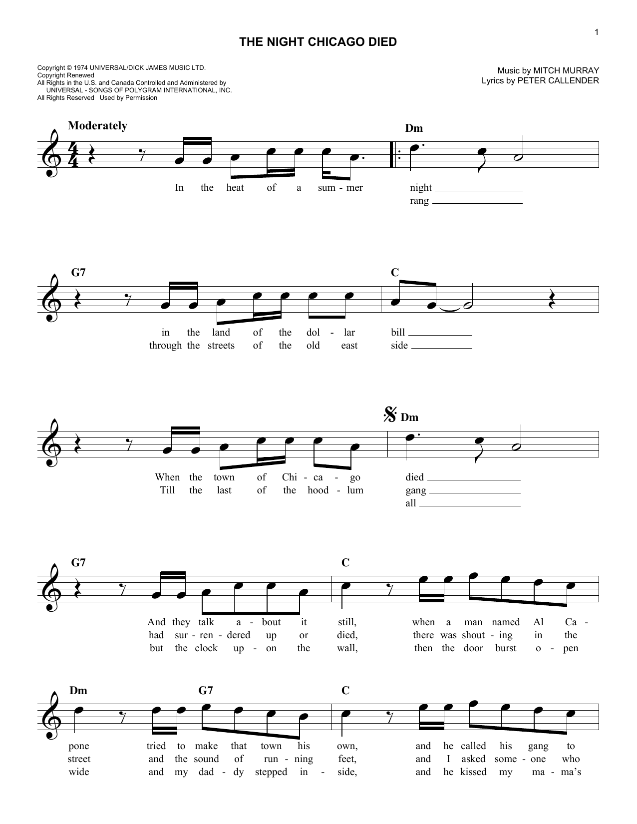 The Night Chicago Died (Lead Sheet / Fake Book)