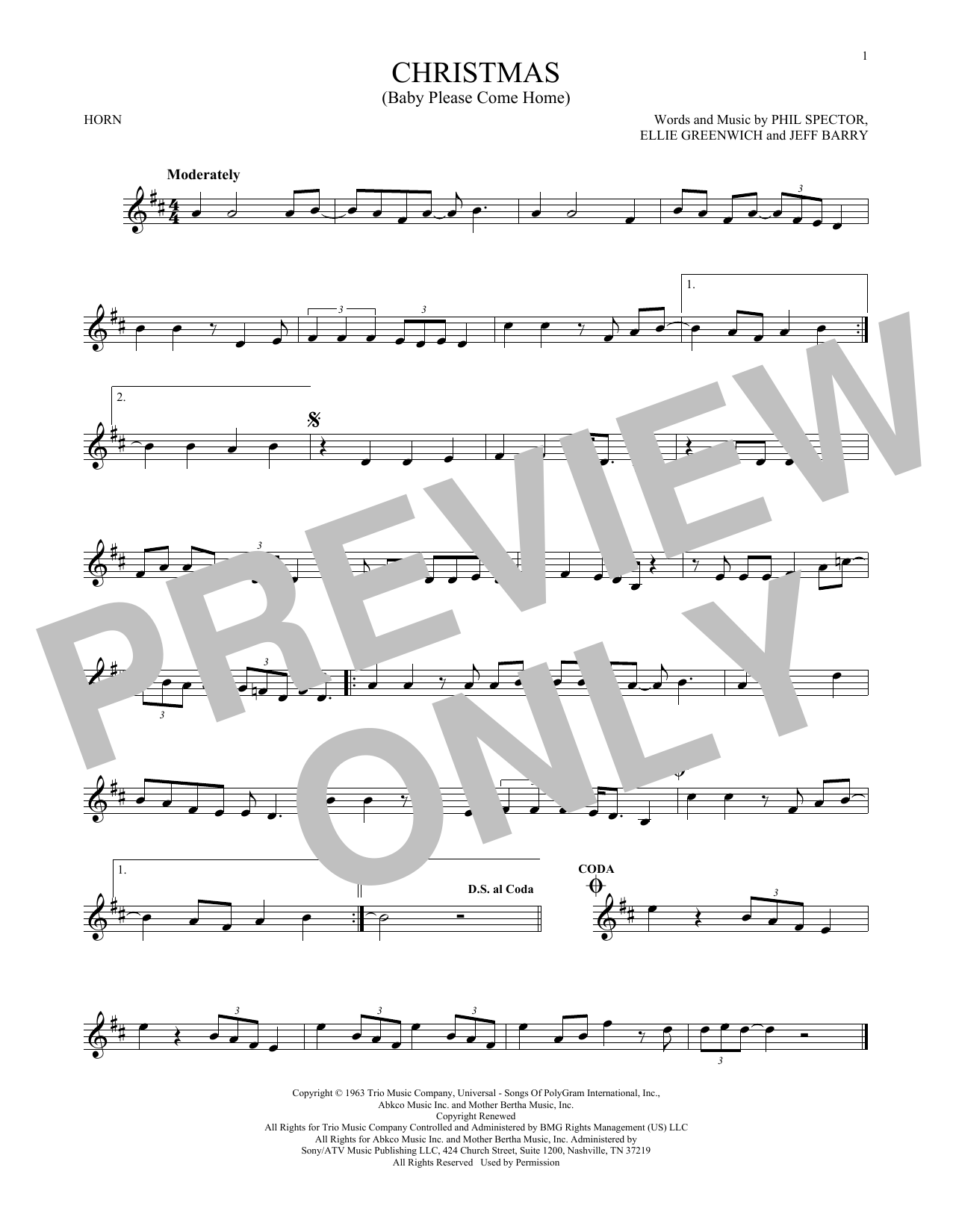 Christmas (Baby Please Come Home) (French Horn Solo)