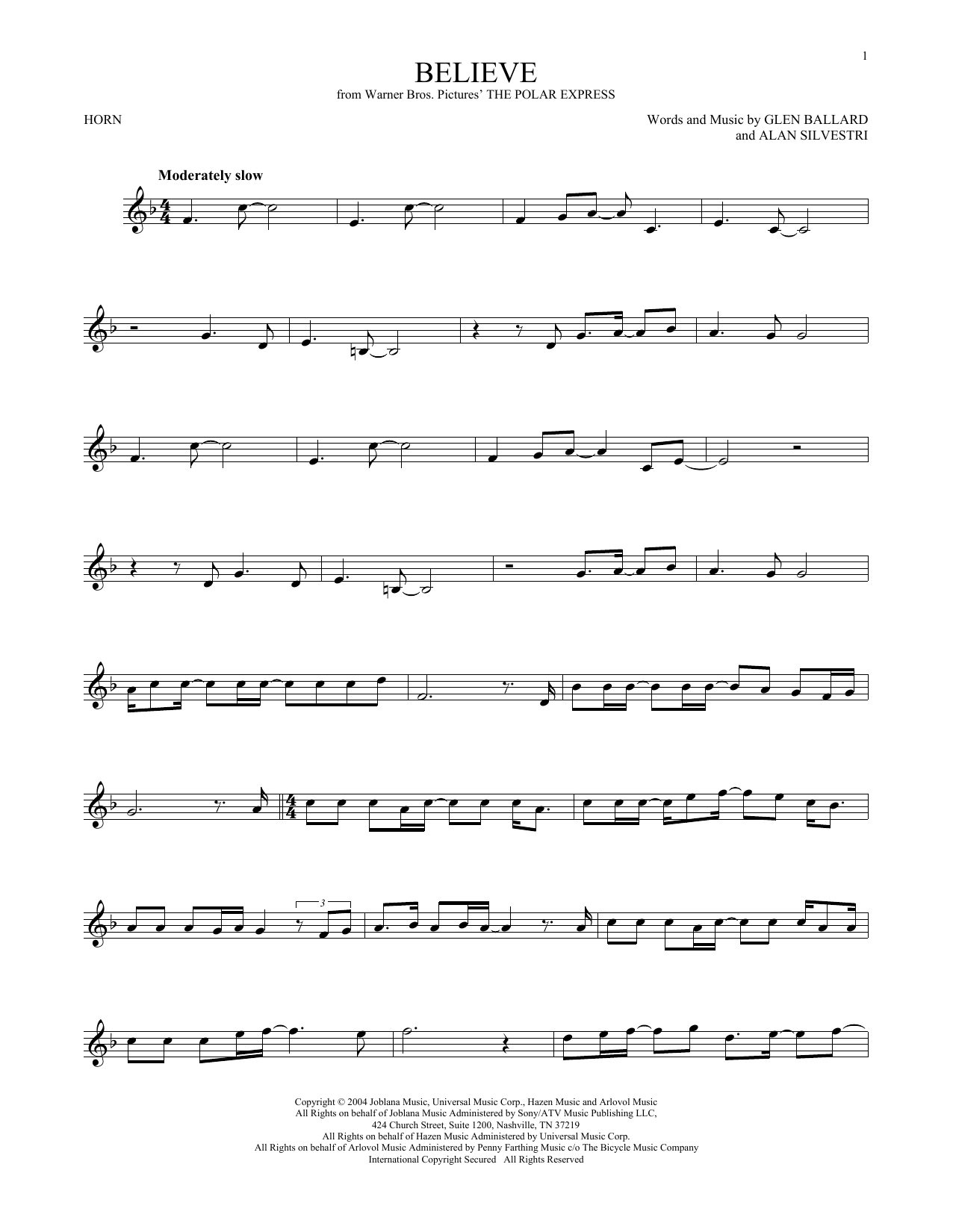 Believe (from The Polar Express) (French Horn Solo)