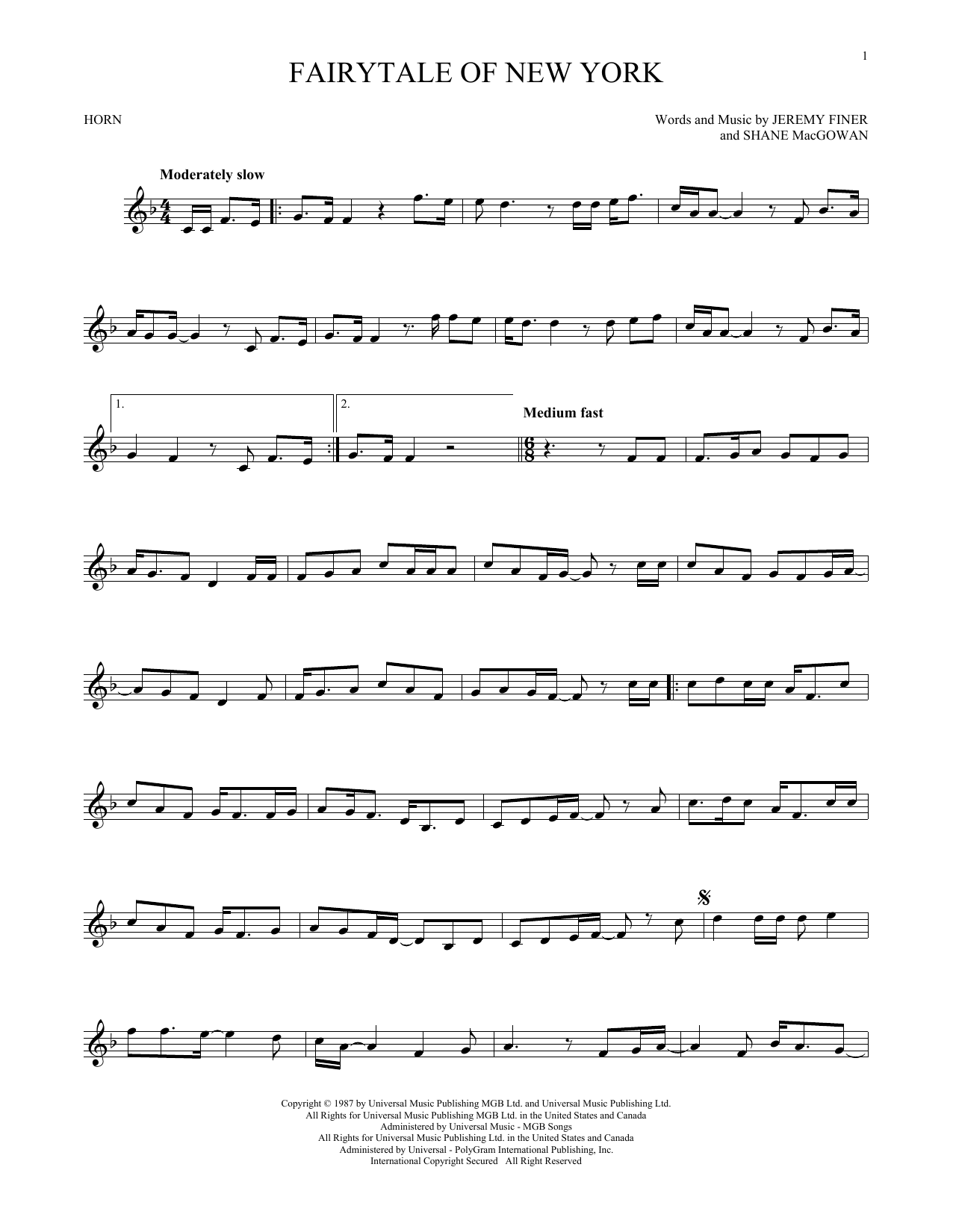 Fairytale Of New York (French Horn Solo)