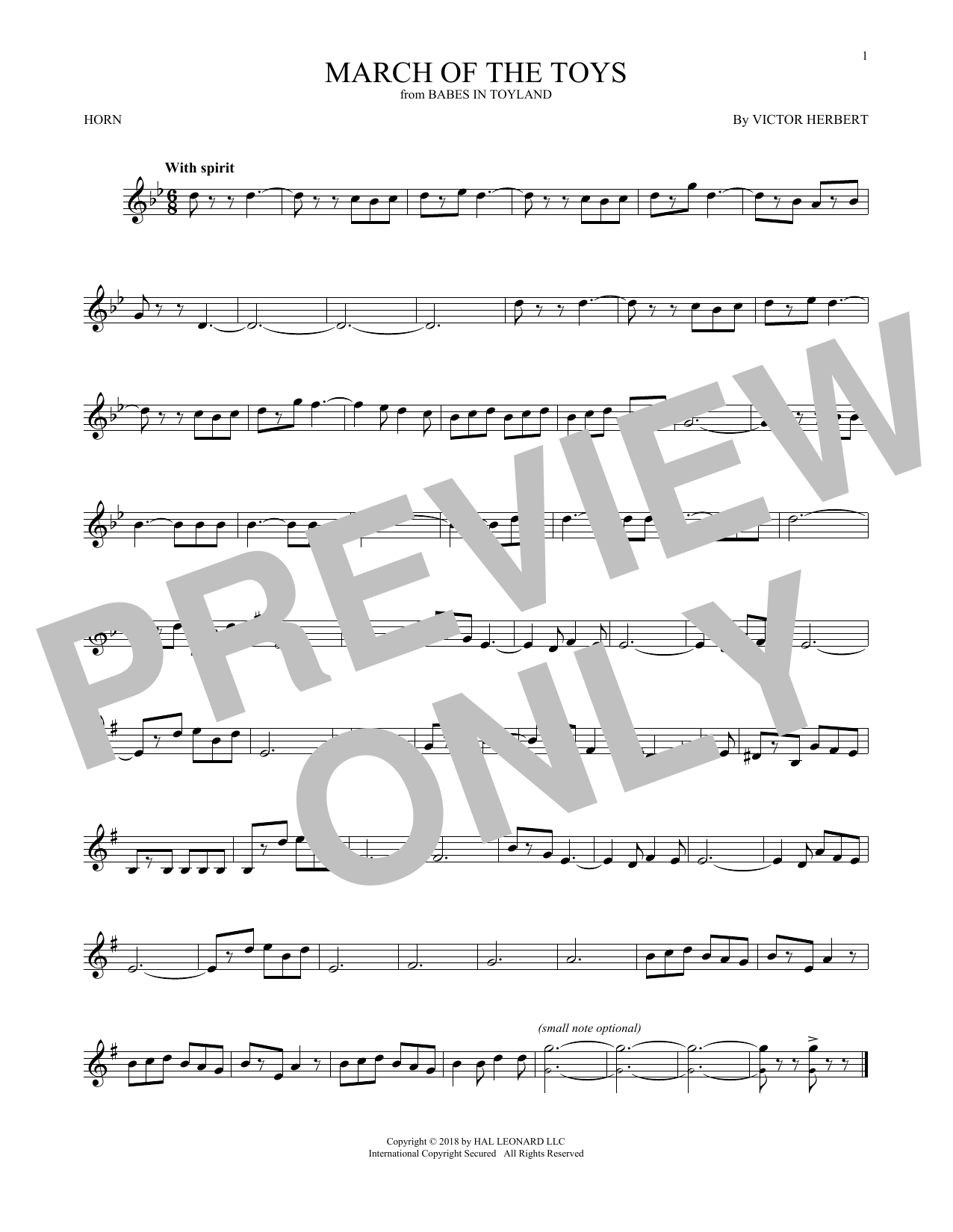 March Of The Toys (from Babes In Toyland) (French Horn Solo)