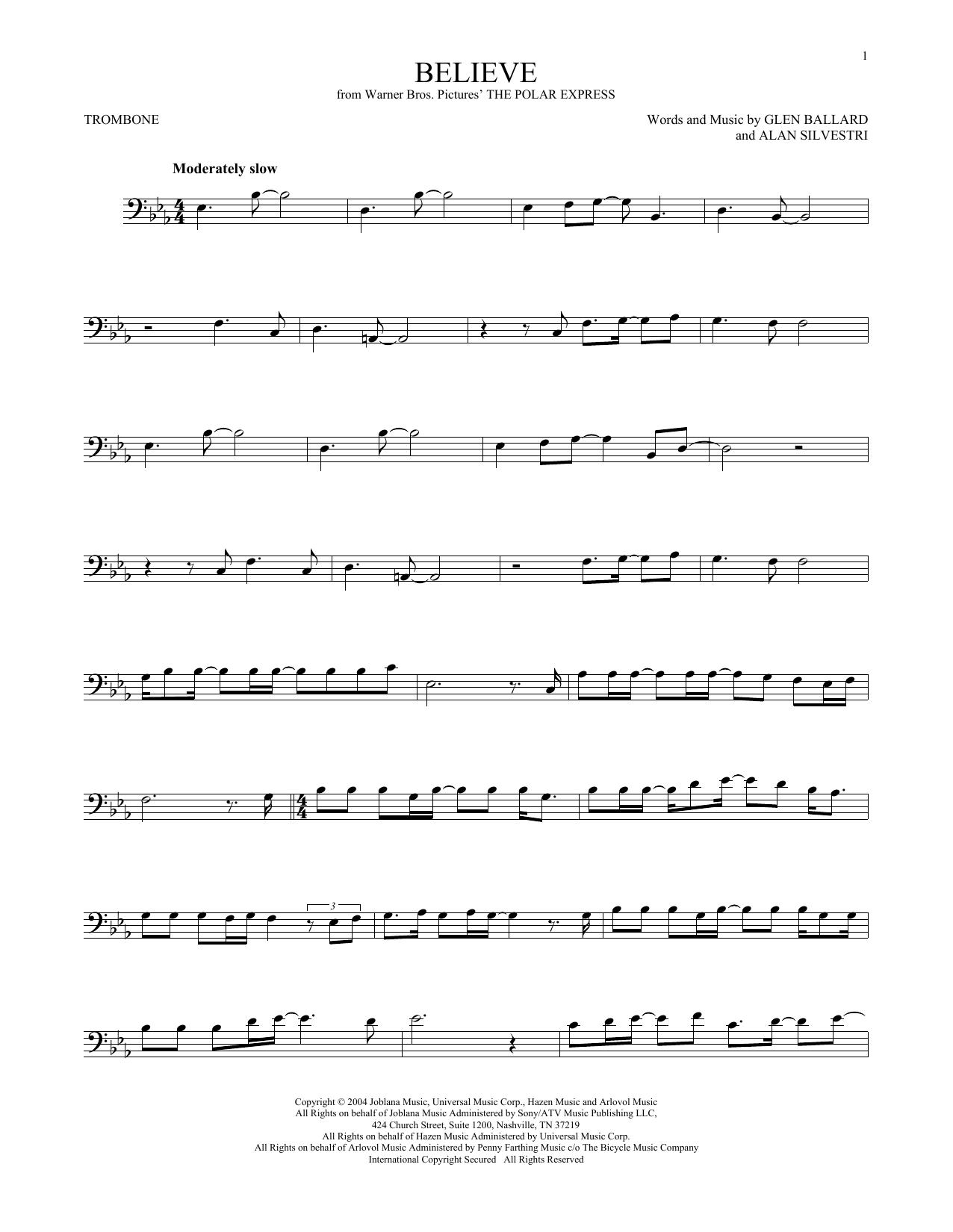 Believe (from The Polar Express) (Trombone Solo)