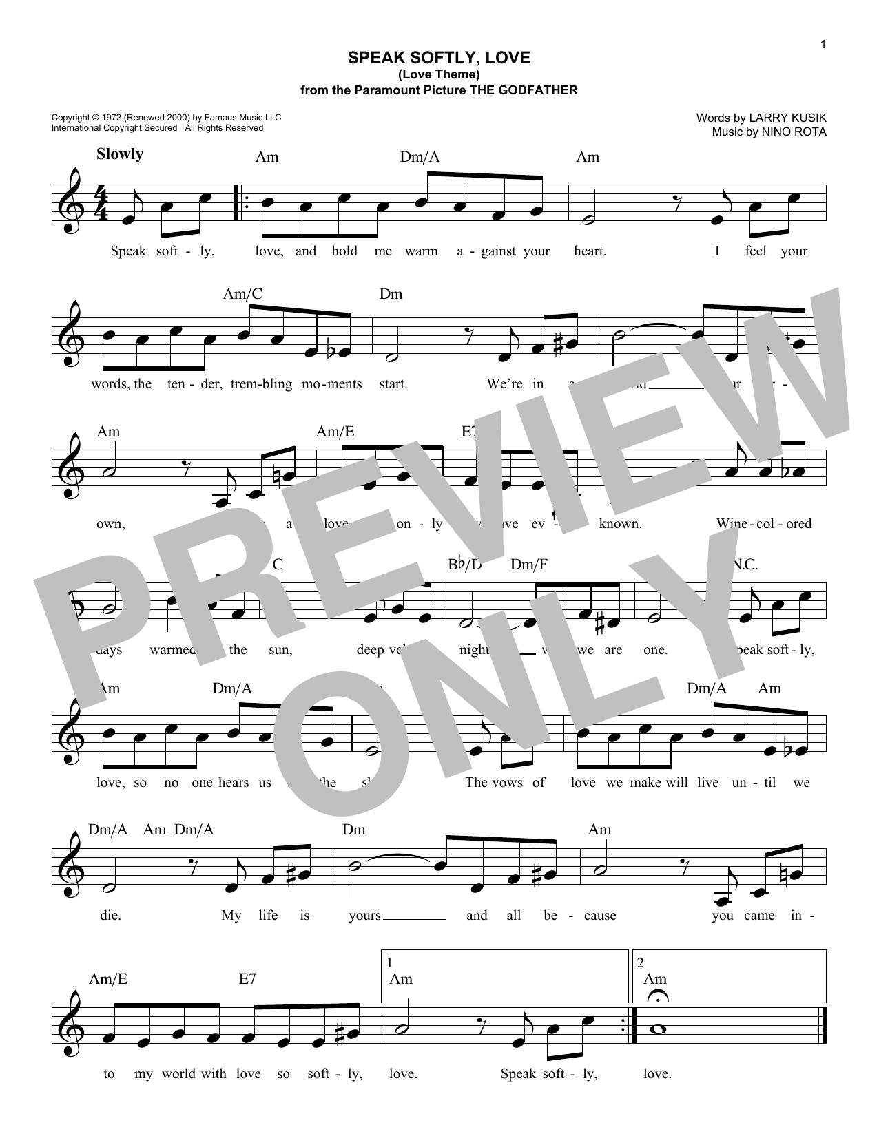 Speak Softly, Love (Love Theme) (Lead Sheet / Fake Book)