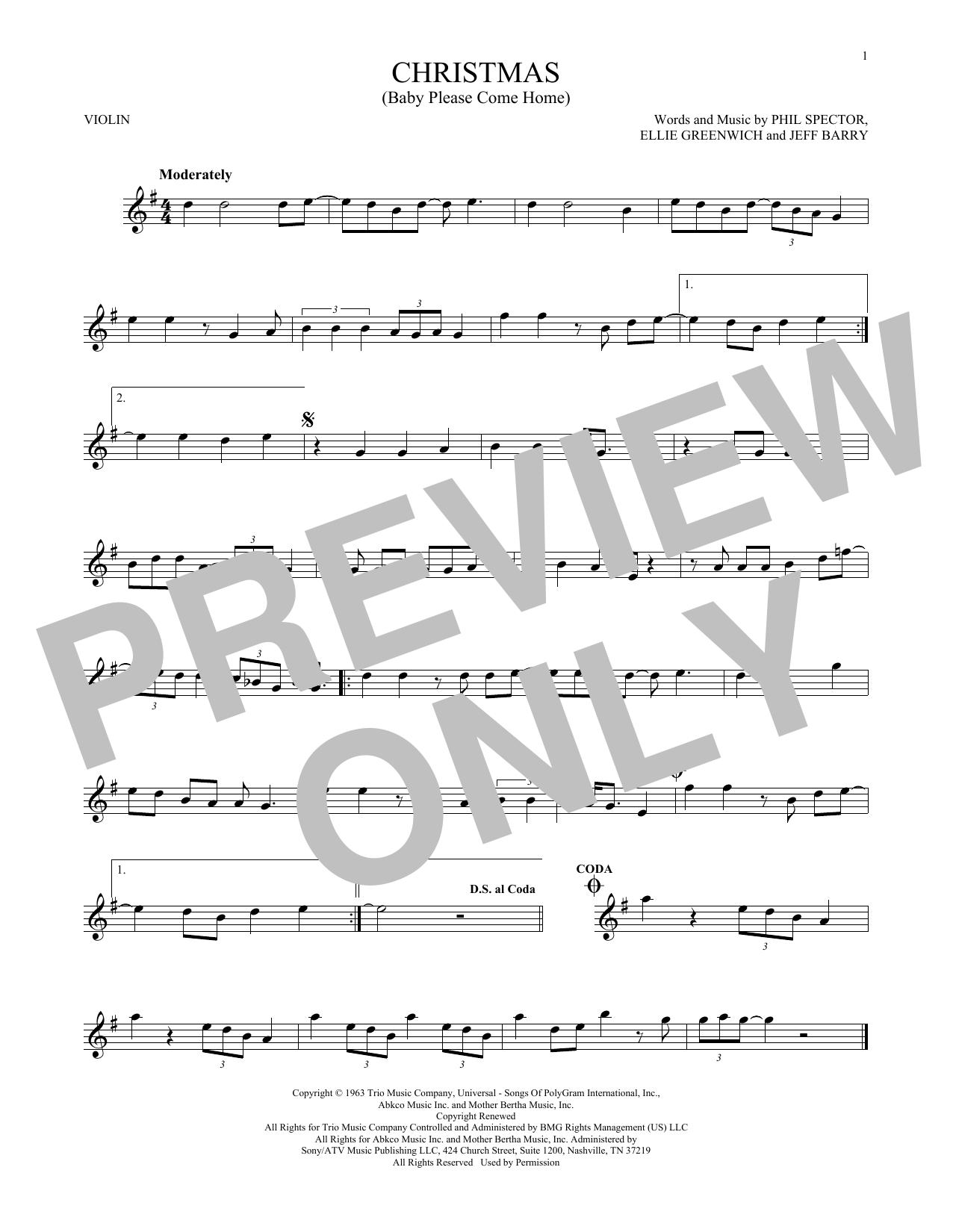 Christmas (Baby Please Come Home) (Violin Solo)