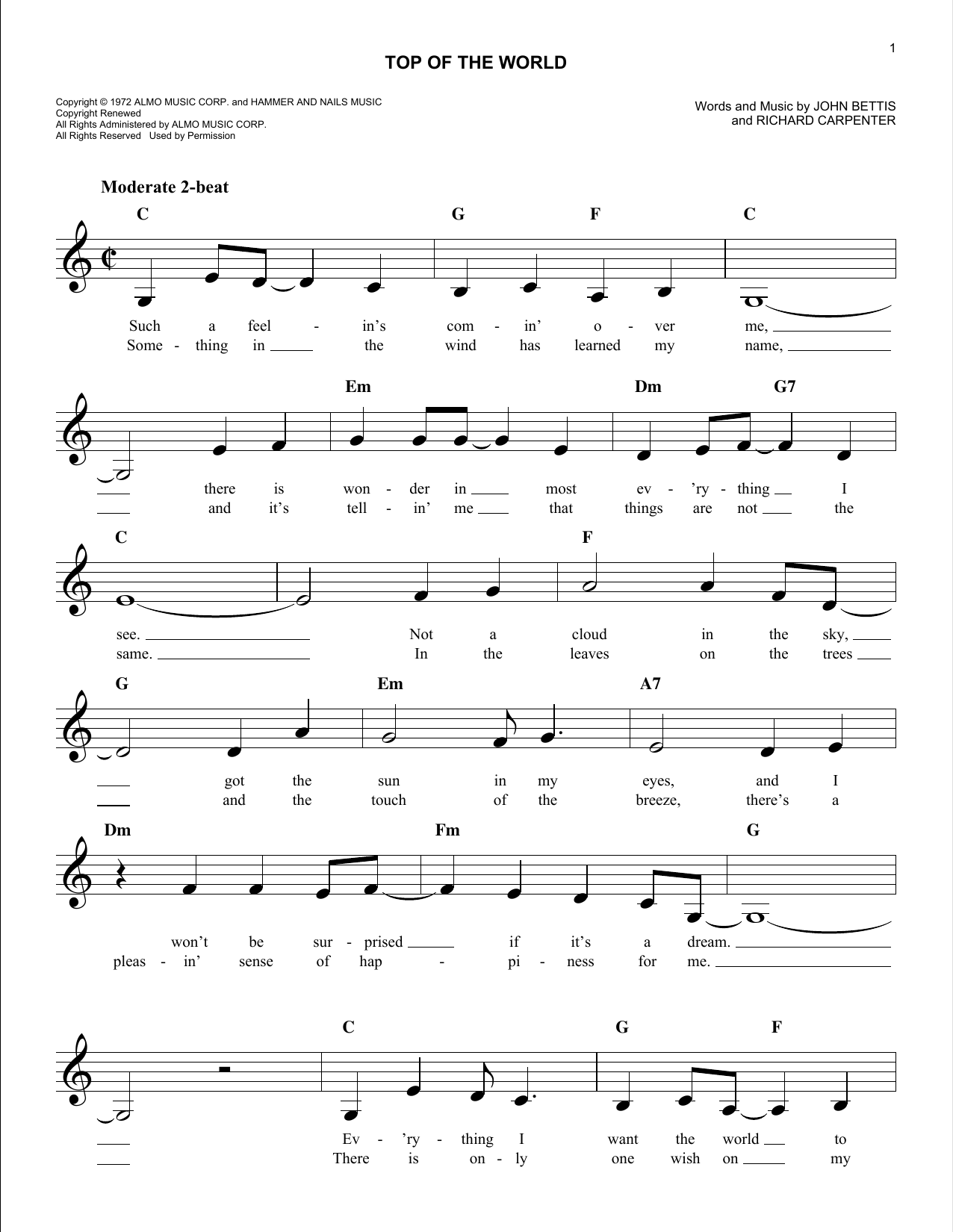 Top Of The World (Lead Sheet / Fake Book)