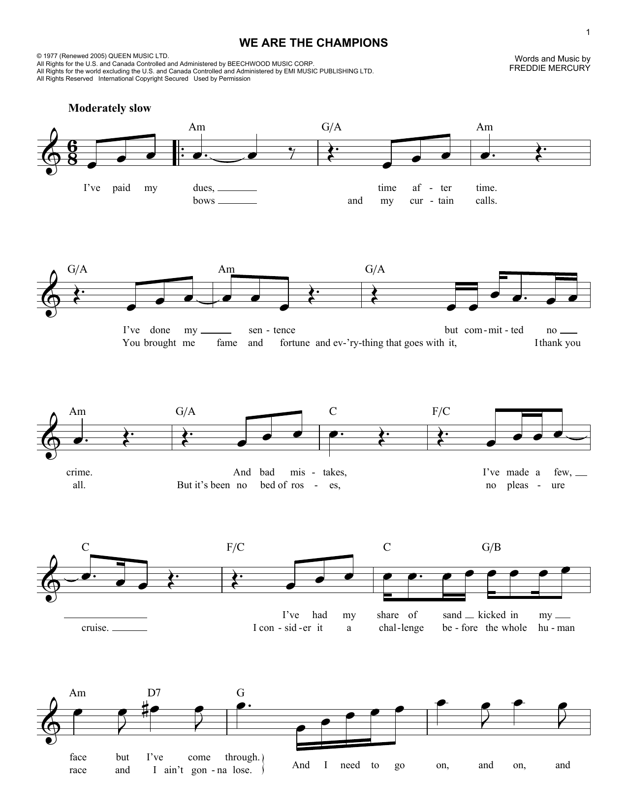 We Are The Champions (Lead Sheet / Fake Book)