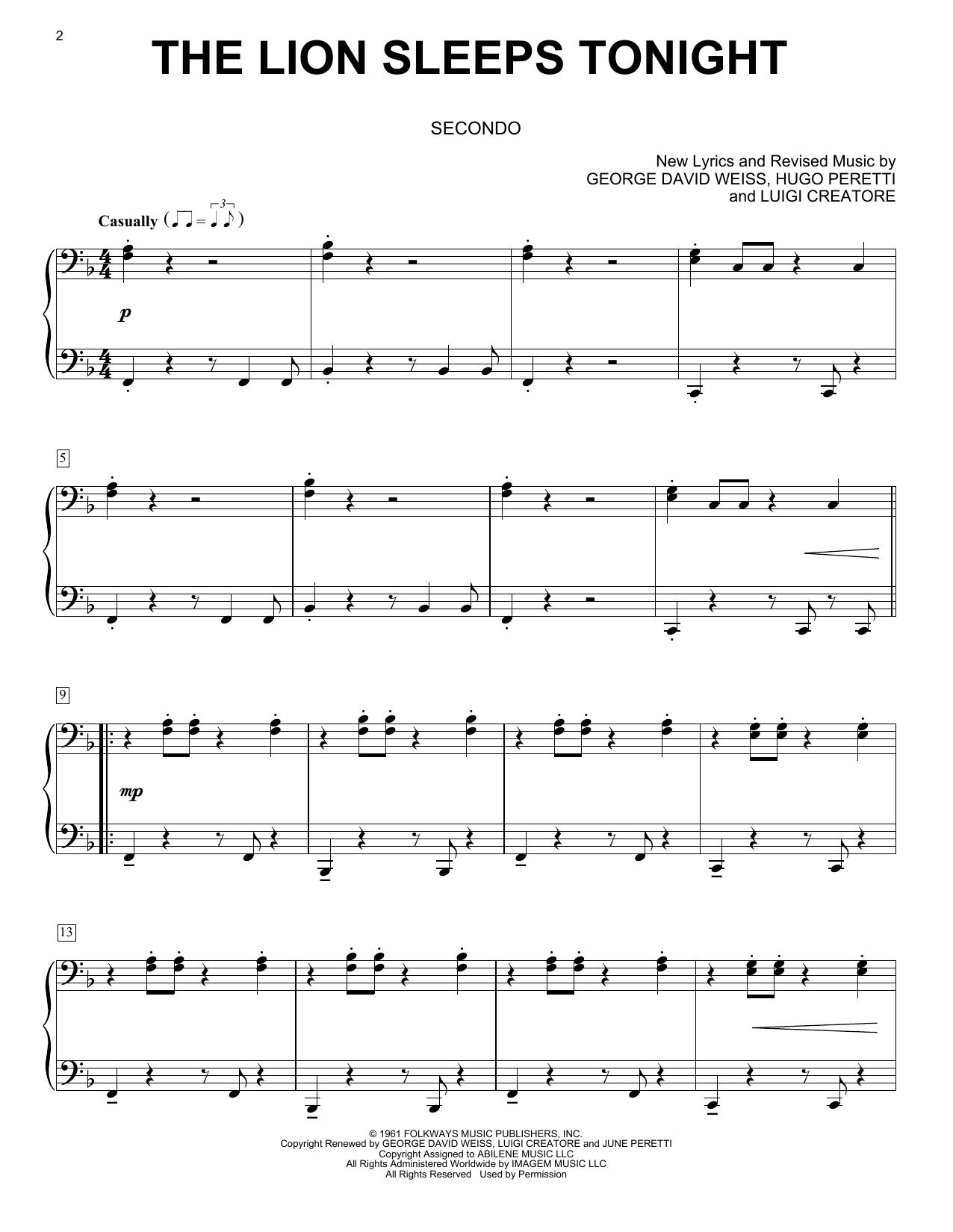The Lion Sleeps Tonight Sheet Music Tokens Piano Duet
