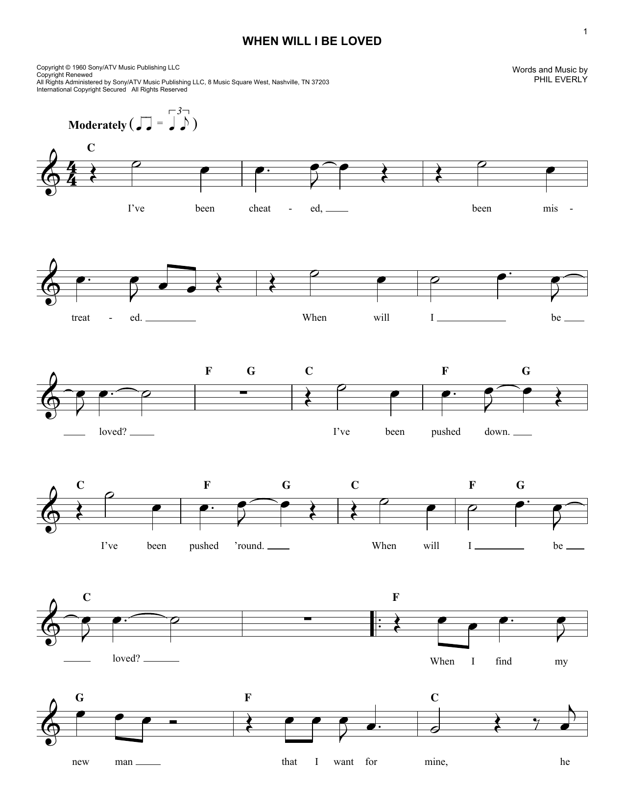 When Will I Be Loved (Lead Sheet / Fake Book)