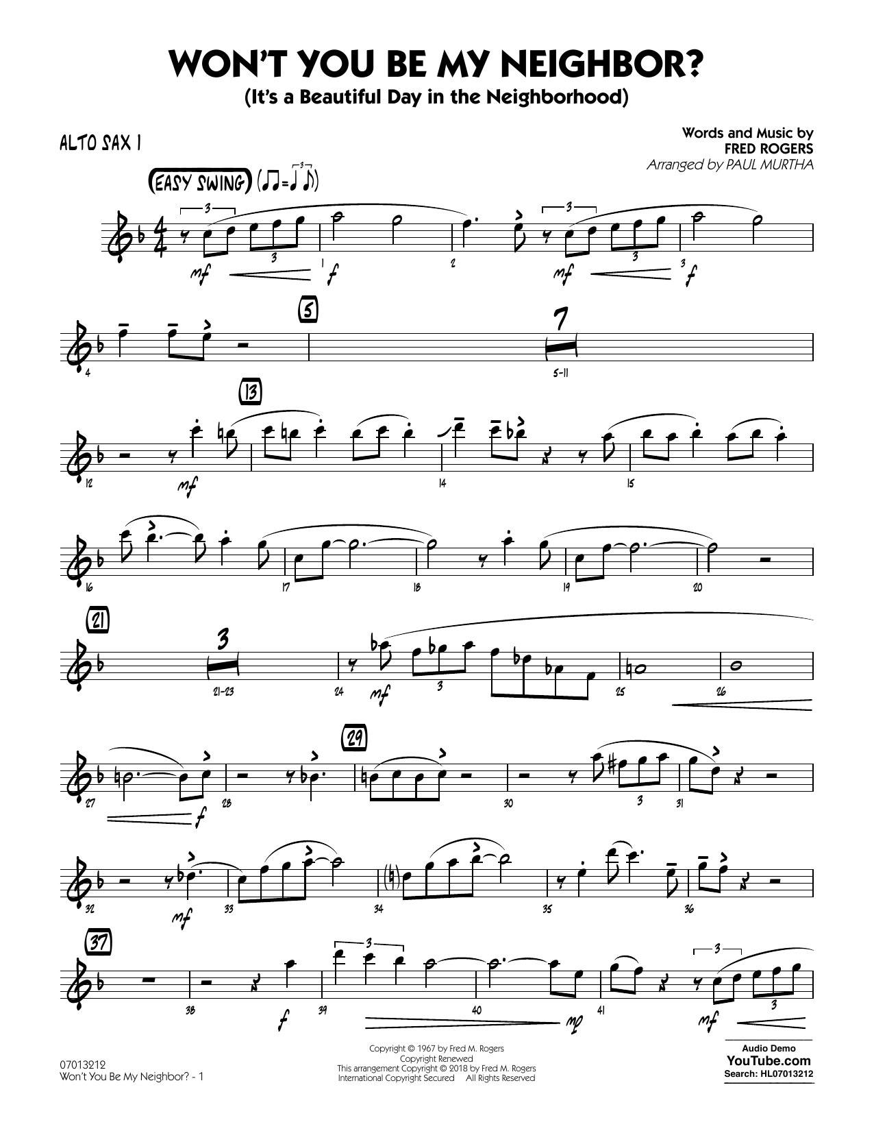 Won T You Be My Neighbor Alto Sax 1 Sheet Music To Download