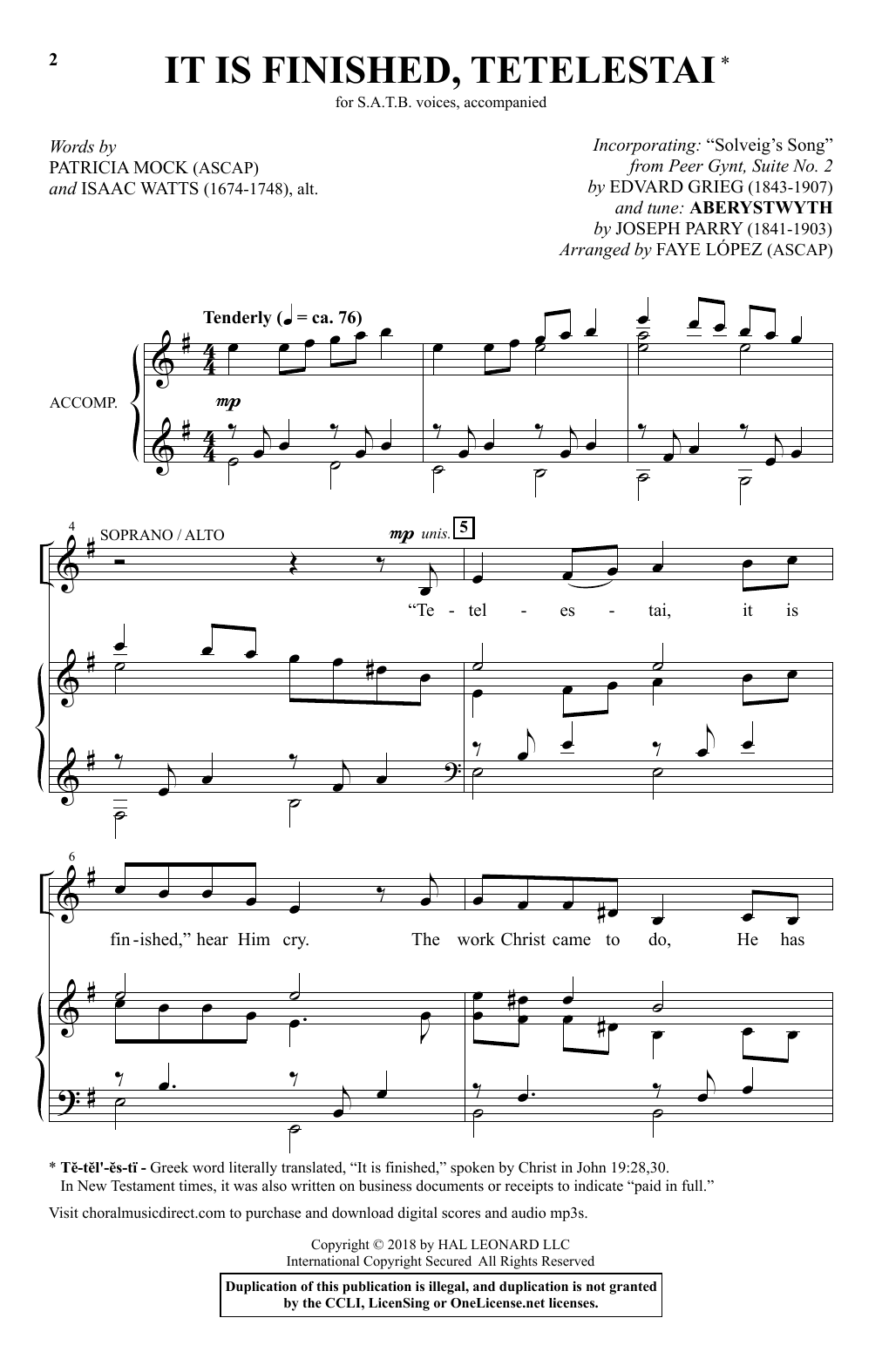 It Is Finished, Tetelestai (arr. Faye Lopez) (SATB Choir)