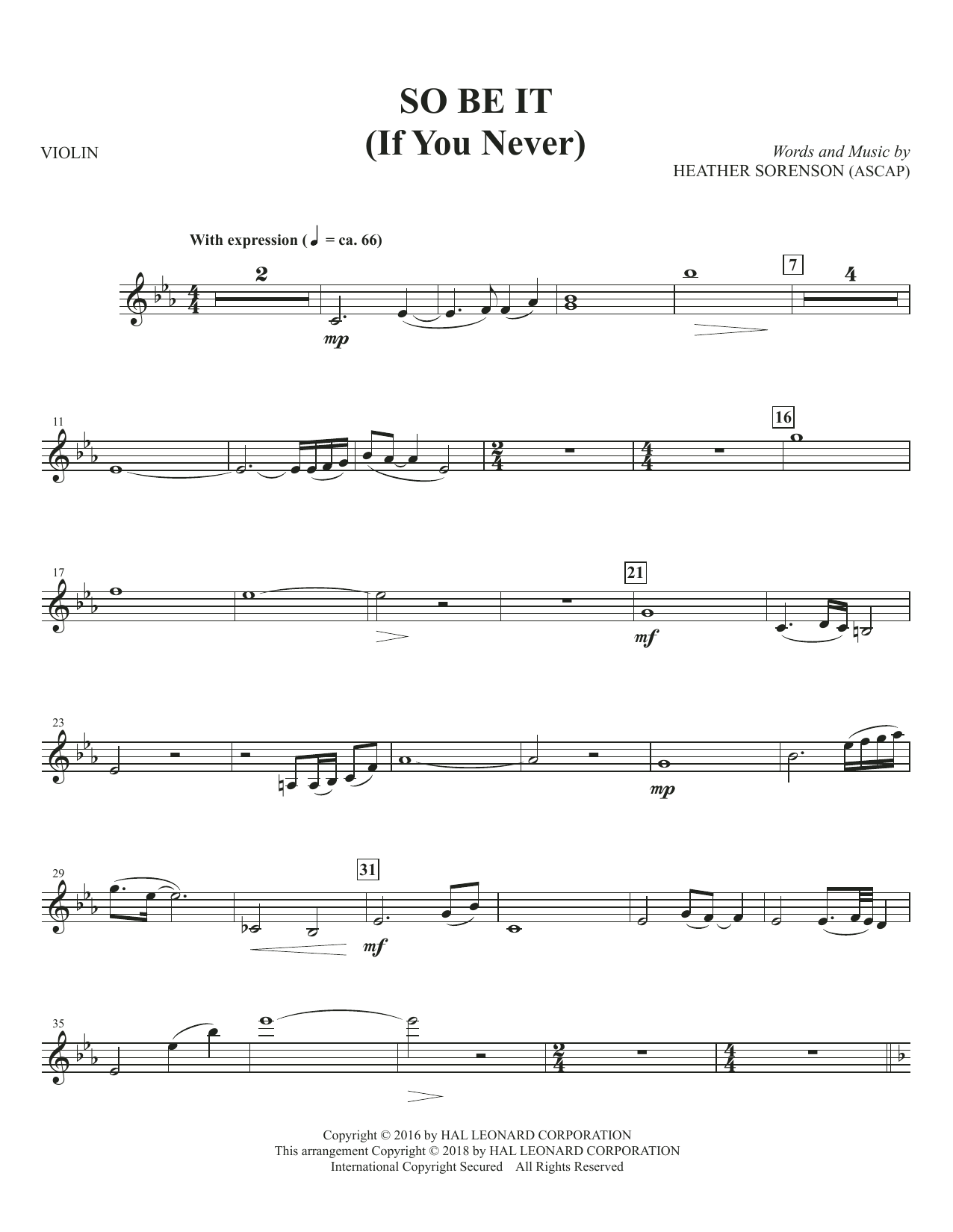 So Be It (If You Never) - Solo Violin (Choir Instrumental Pak)