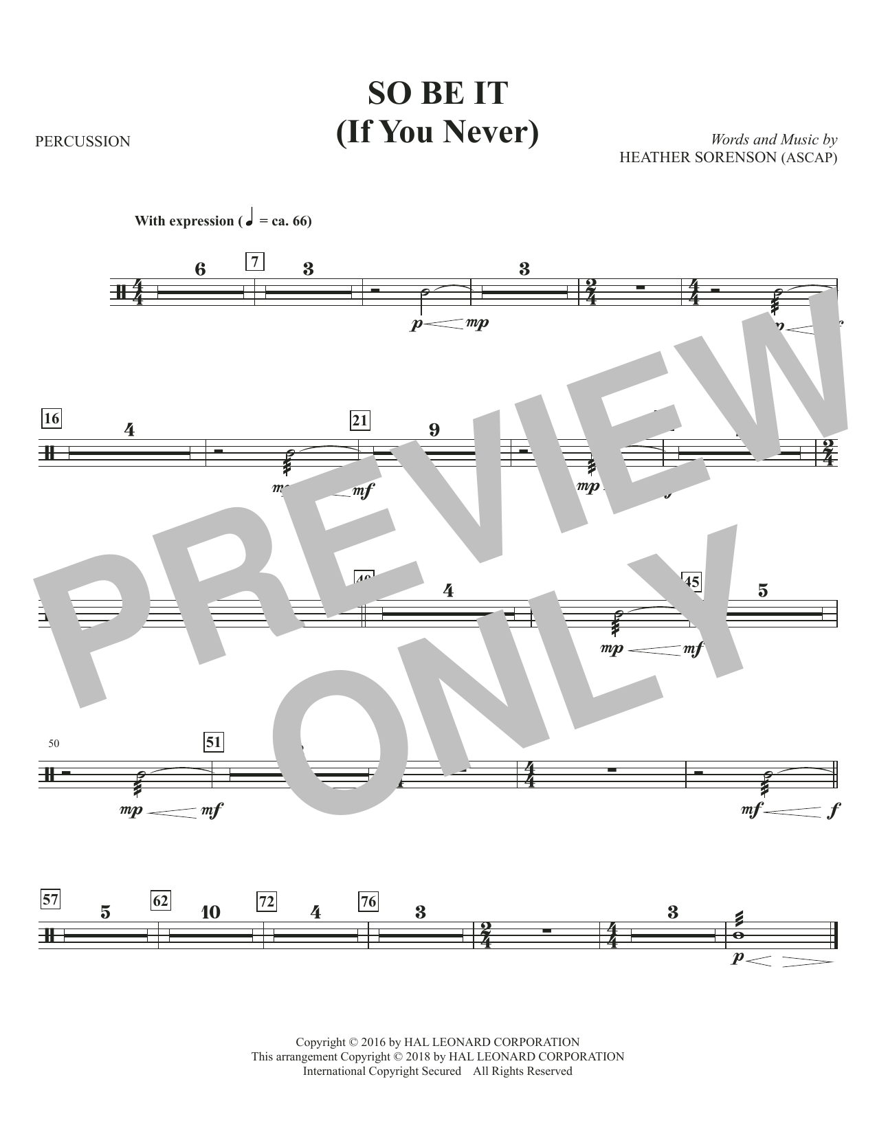 So Be It (If You Never) - Percussion (Choir Instrumental Pak)