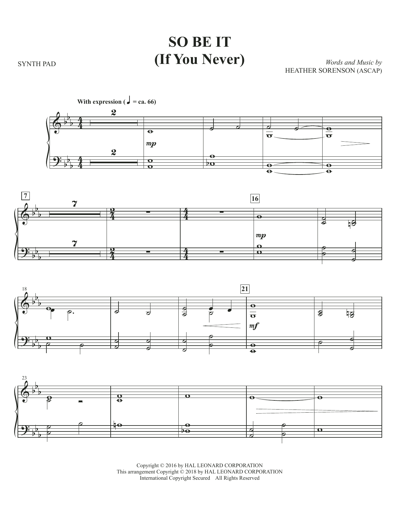 So Be It (If You Never) - Synthesizer (Choir Instrumental Pak)
