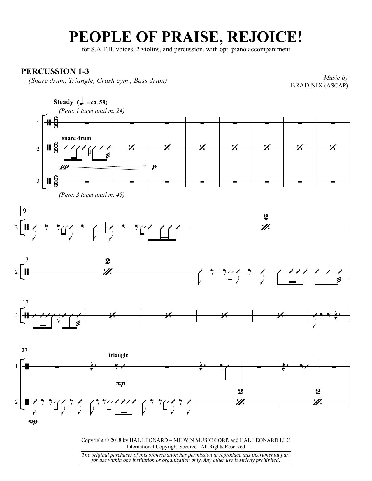 People of Praise, Rejoice! - Percussion 1-3 (Choir Instrumental Pak)