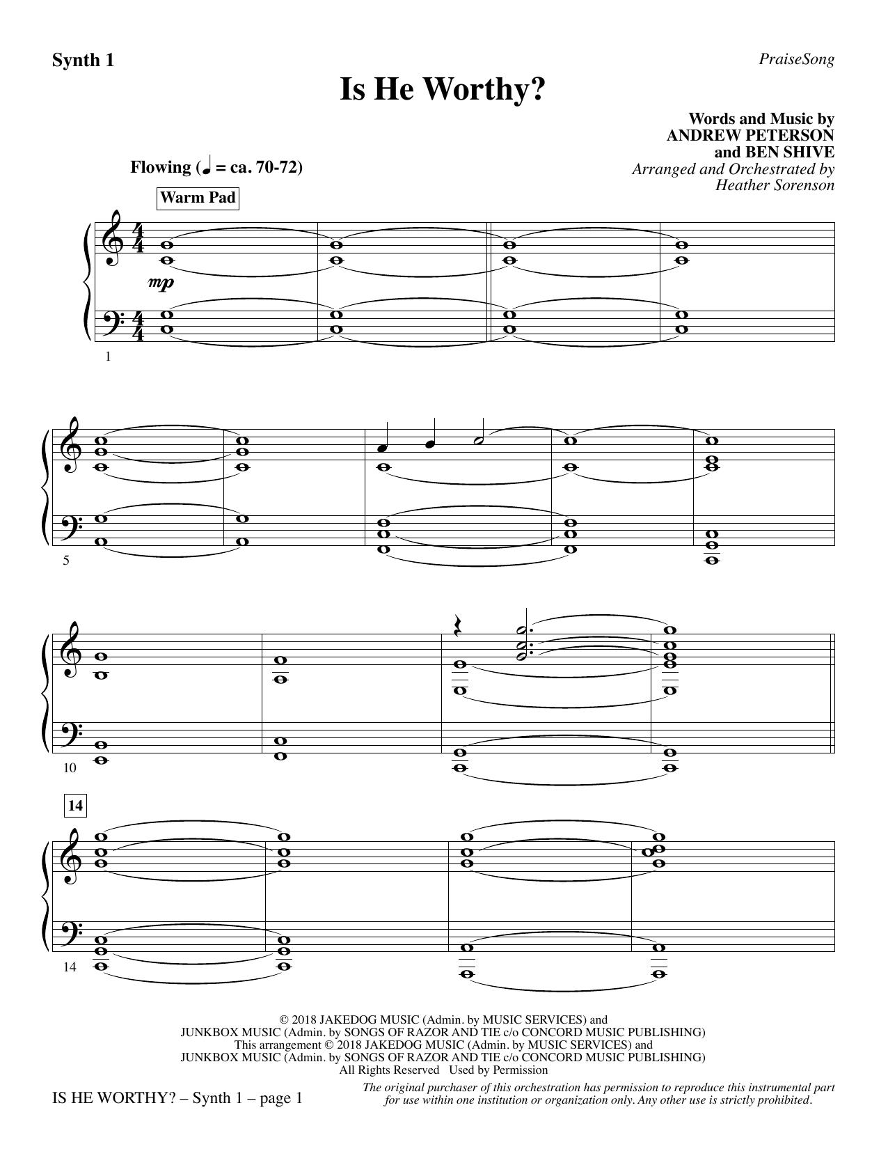 Is He Worthy? (arr. Heather Sorenson) - Synth 1 (Choir Instrumental Pak)