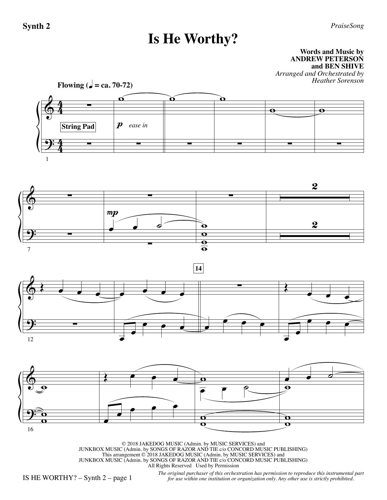Is He Worthy? (arr. Heather Sorenson) - Synth 2 (Choir Instrumental Pak)