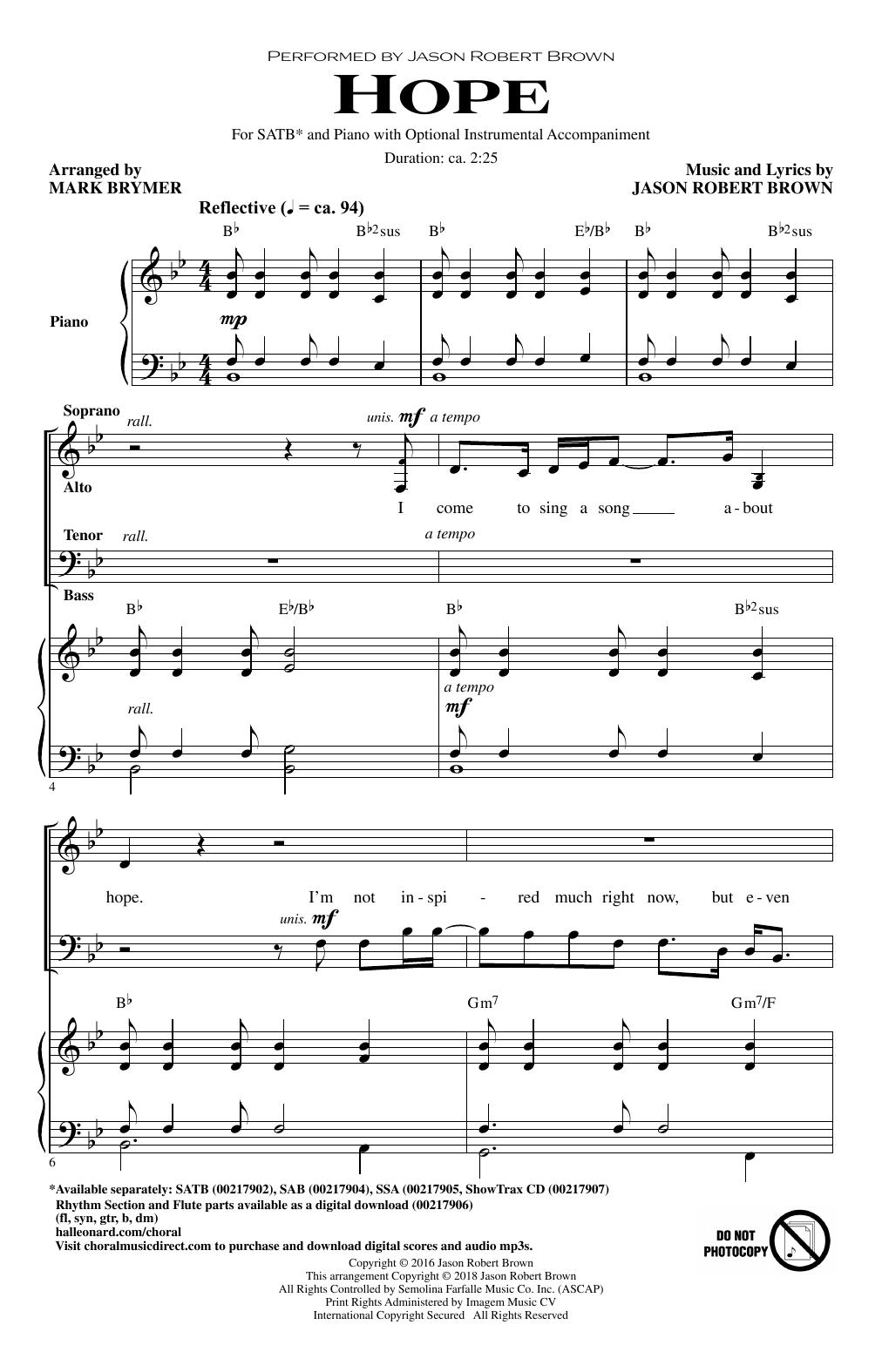 Hope (Arr. Mark Brymer) (SATB Choir)