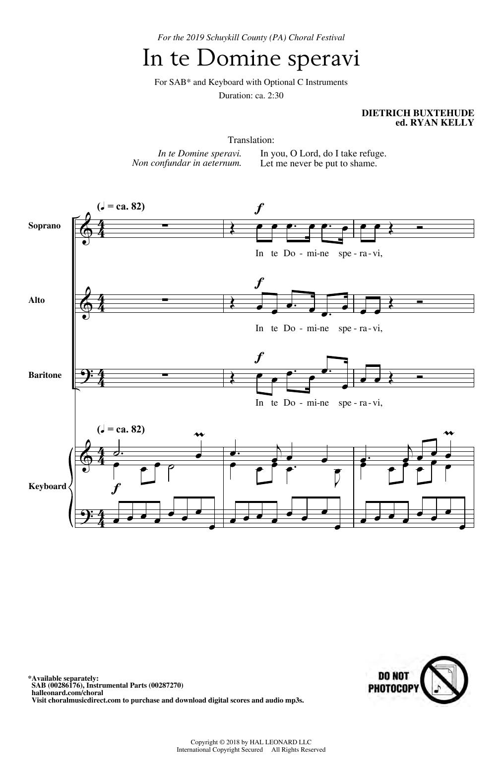 In Te Domine Speravi (ed. Ryan Kelly) (SAB Choir)