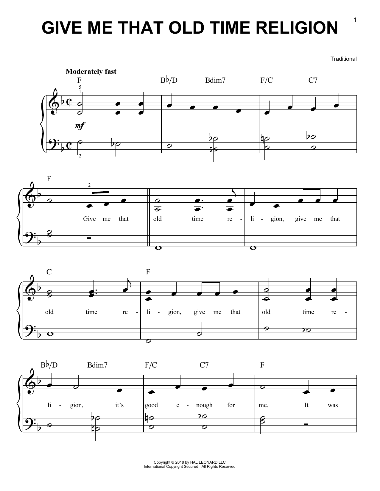 Give Me That Old Time Religion (Easy Piano)