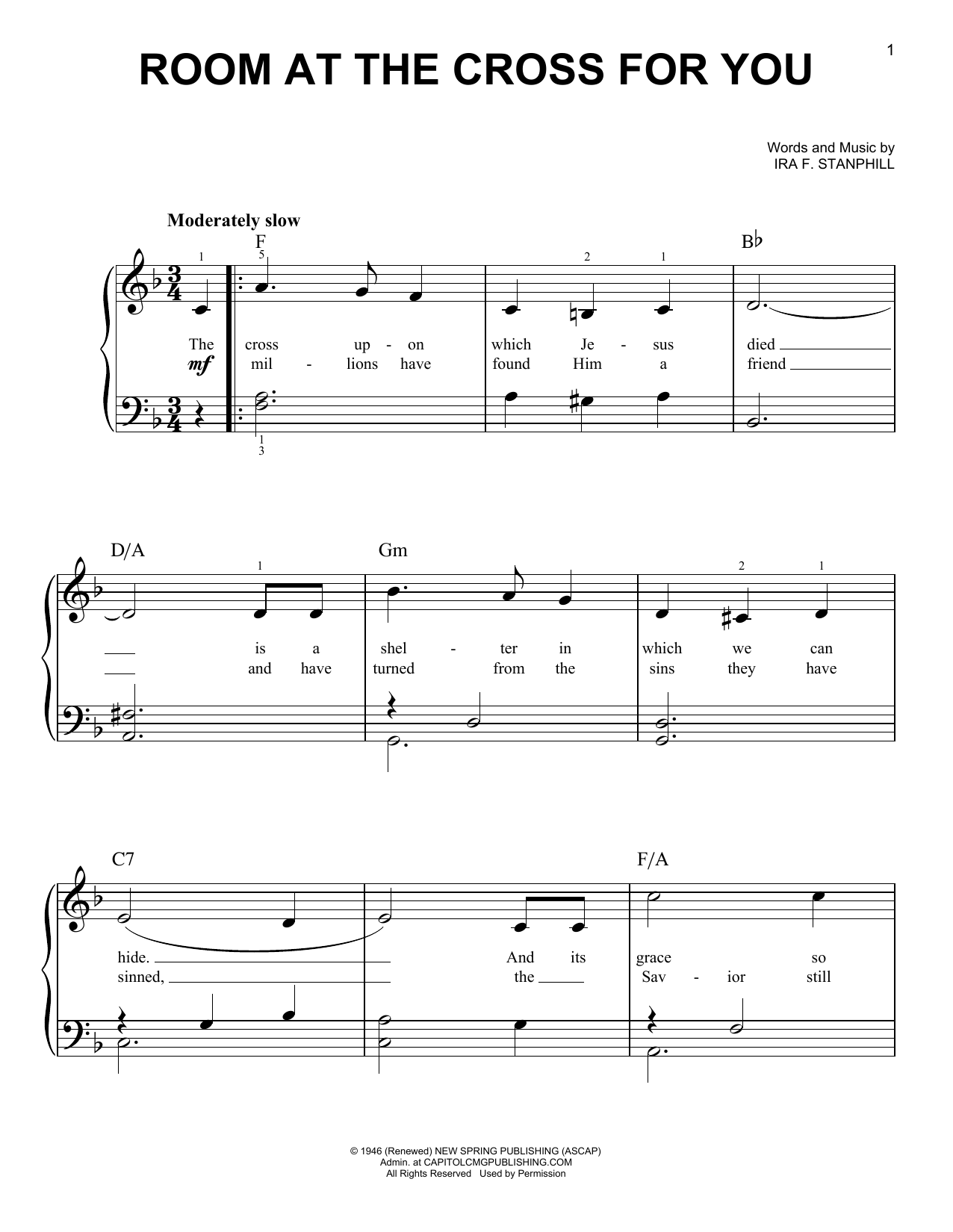 Room At The Cross For You (Easy Piano)
