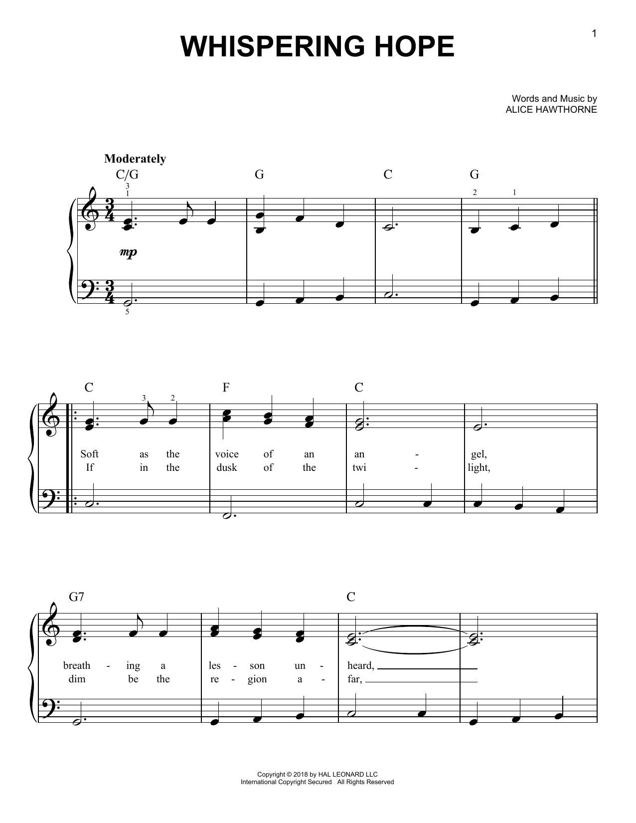 Whispering Hope (Easy Piano)