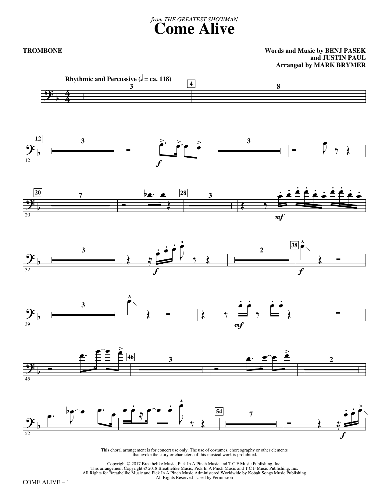 Come Alive (from The Greatest Showman) (arr. Mark Brymer) - Trombone (Choir Instrumental Pak)