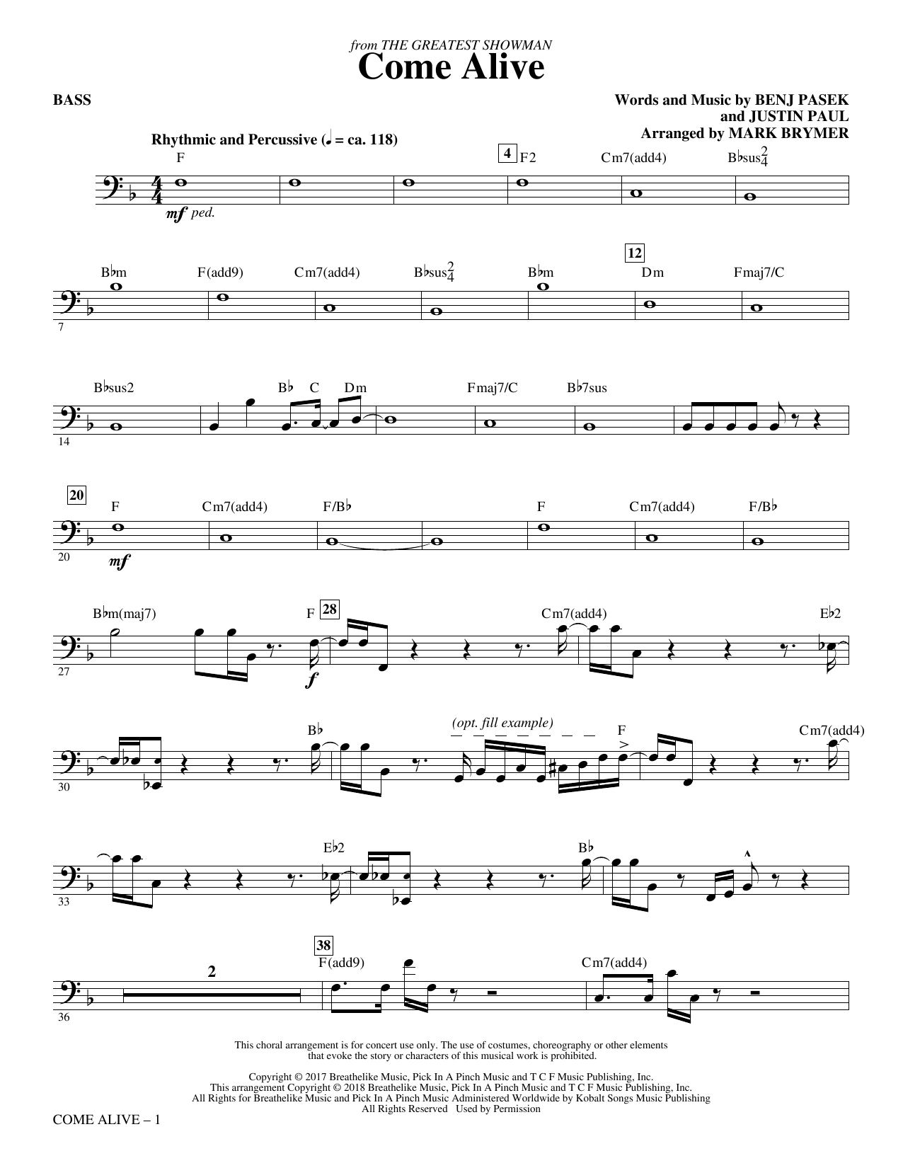 Come Alive (from The Greatest Showman) (Arr. Mark Brymer) - Bass (Choir Instrumental Pak)