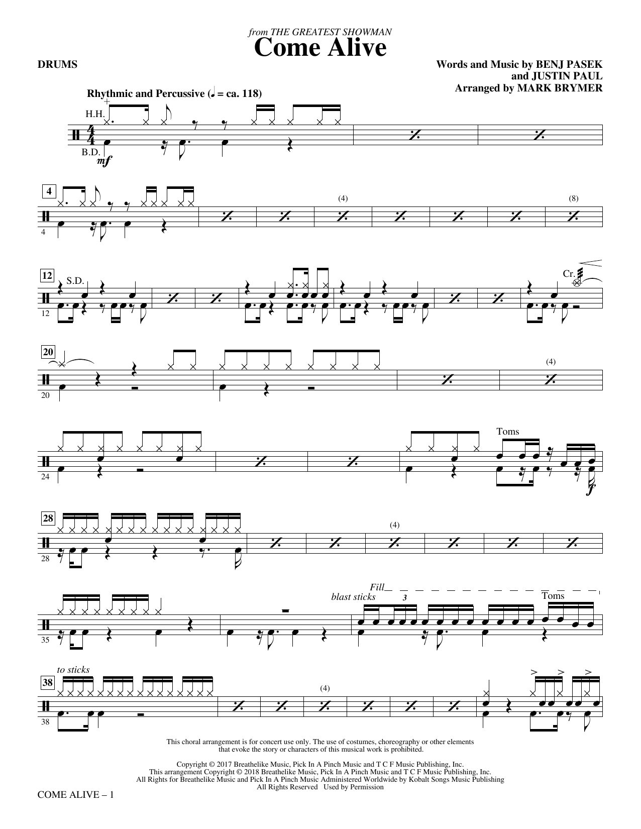Come Alive (from The Greatest Showman) (Arr. Mark Brymer) - Drums (Choir Instrumental Pak)