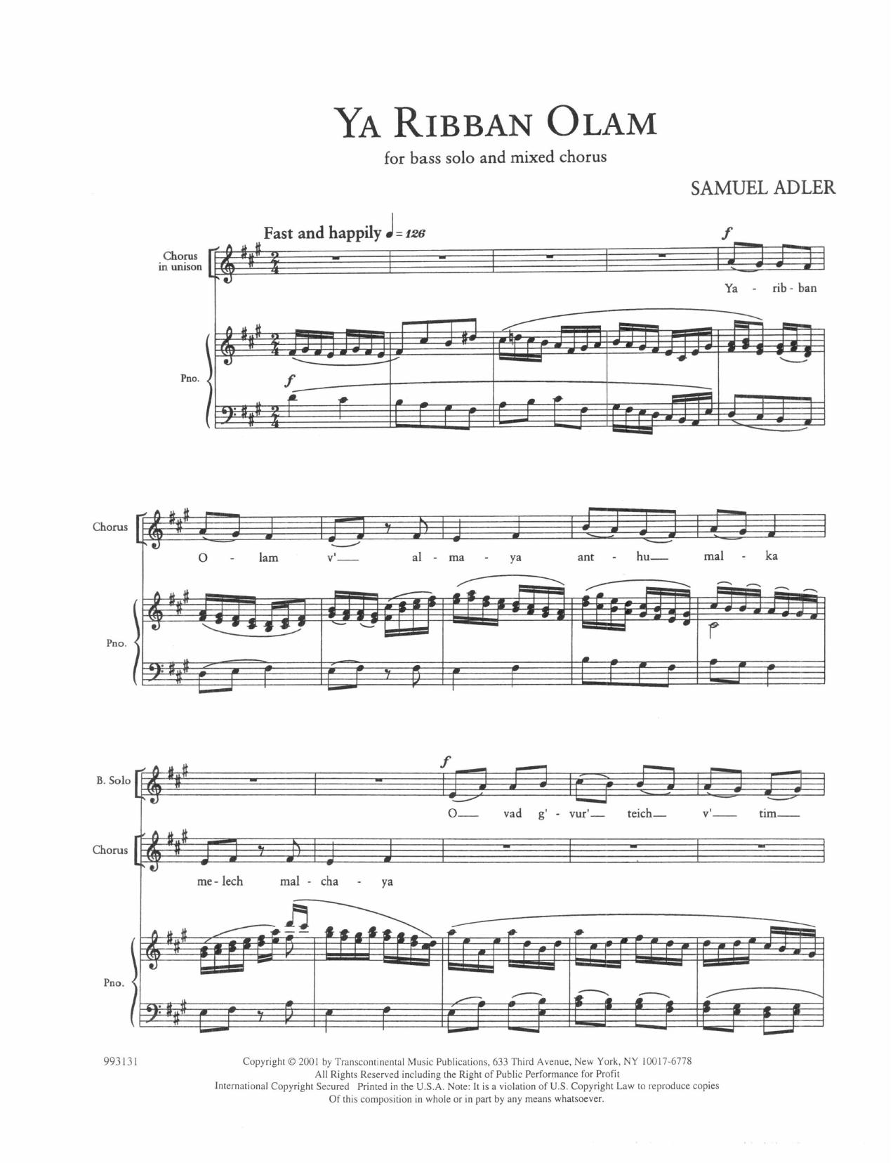Five Sephardic Choruses: Ya Ribban Olam Sheet Music