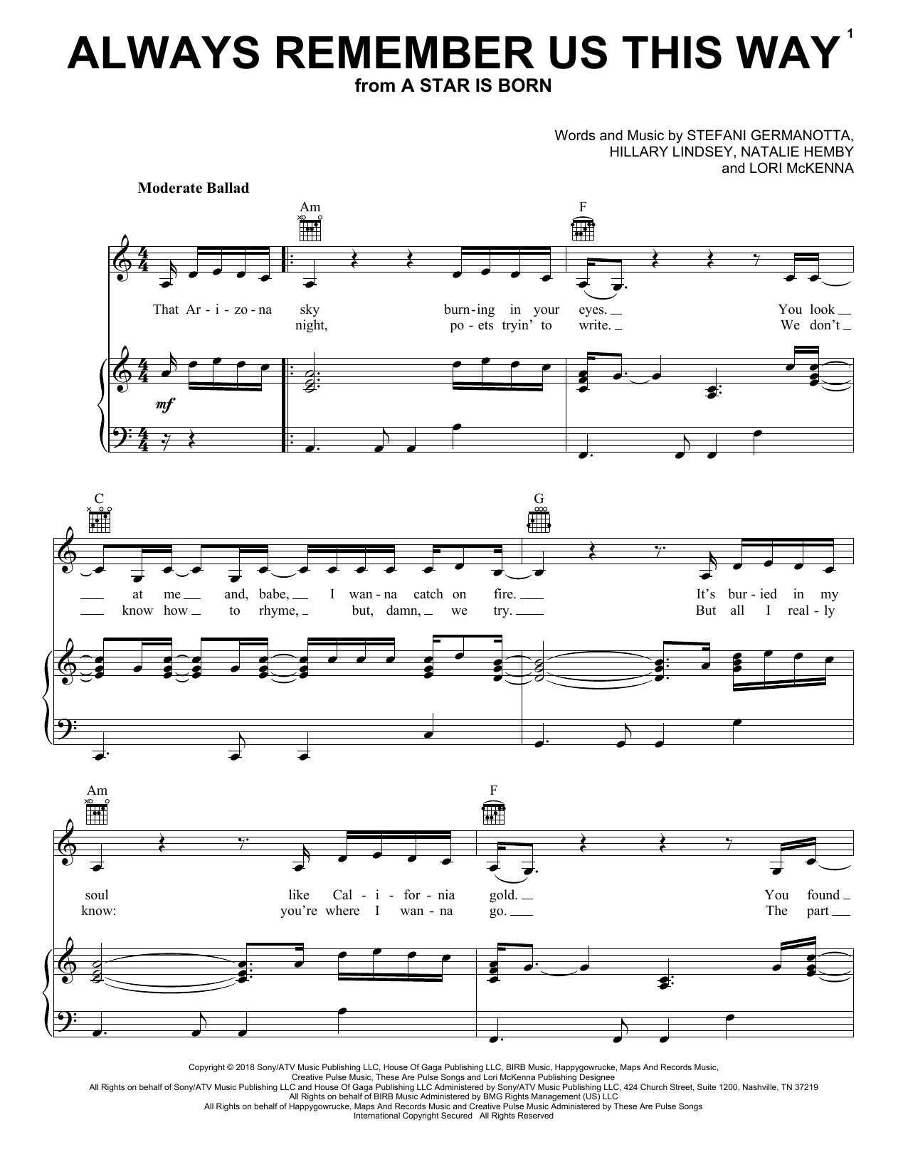Always Remember Us This Way (from A Star Is Born) (Piano, Vocal & Guitar (Right-Hand Melody))