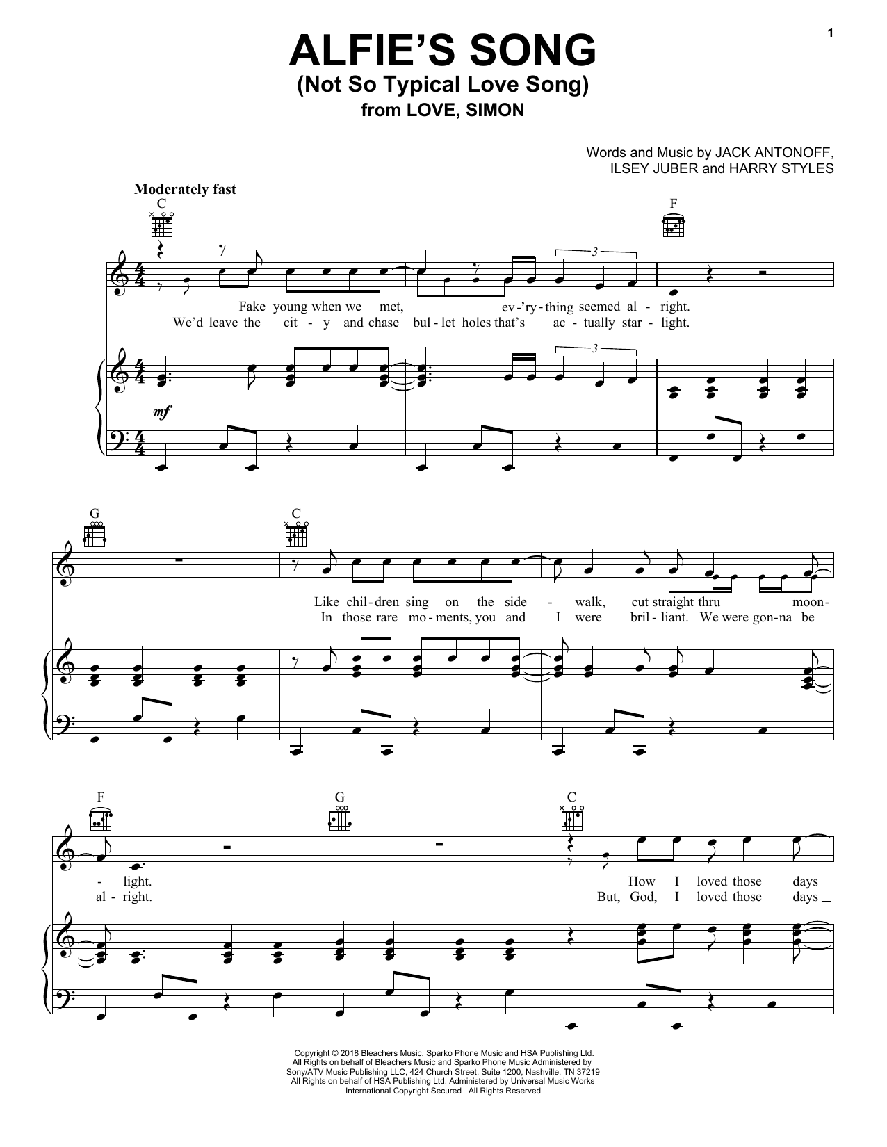 Alfie's Song (Not So Typical Love Song) (from Love, Simon) (Piano, Vocal & Guitar (Right-Hand Melody))