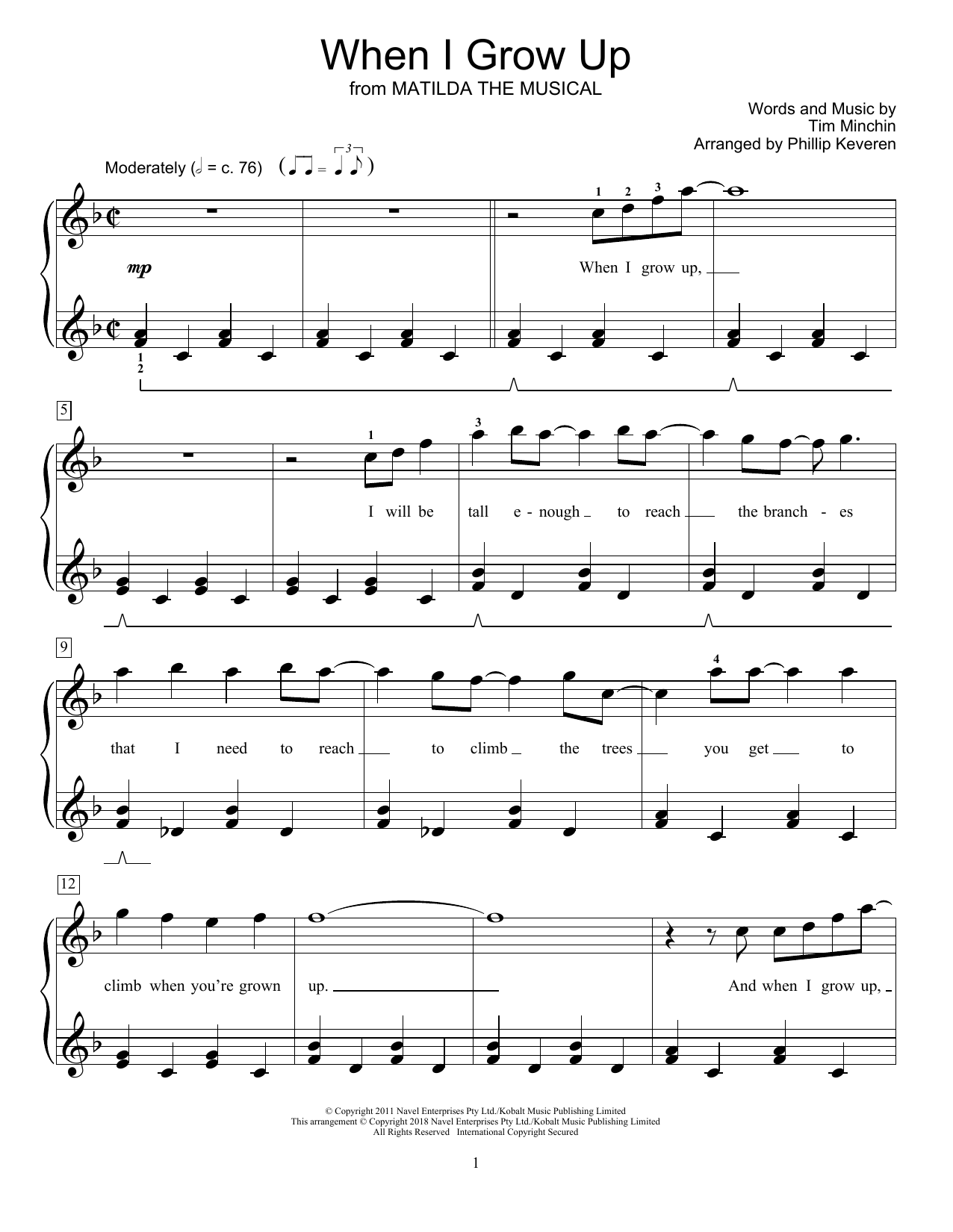 When I Grow Up (from Matilda The Musical) (arr. Phillip Keveren) (Educational Piano)