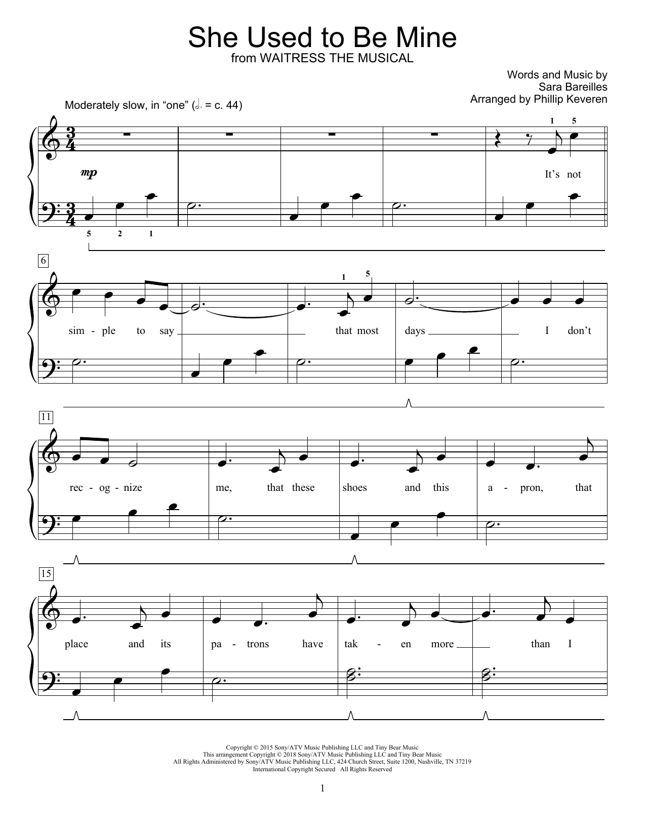 She Used To Be Mine (from Waitress) (arr. Phillip Keveren) (Educational Piano)