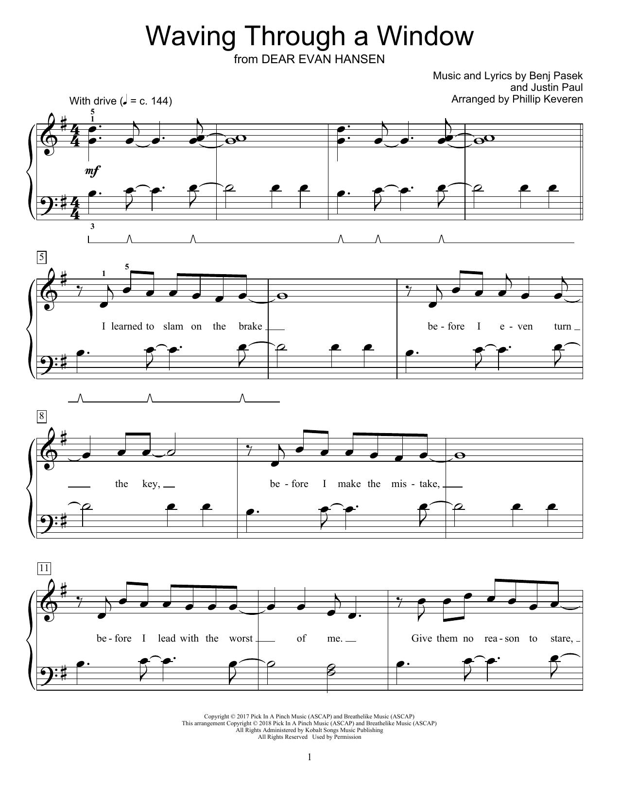 Waving Through A Window (from Dear Evan Hansen) (arr. Phillip Keveren) (Educational Piano)