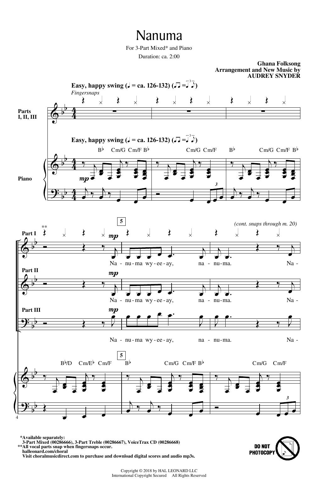 Nanuma (3-Part Mixed Choir)