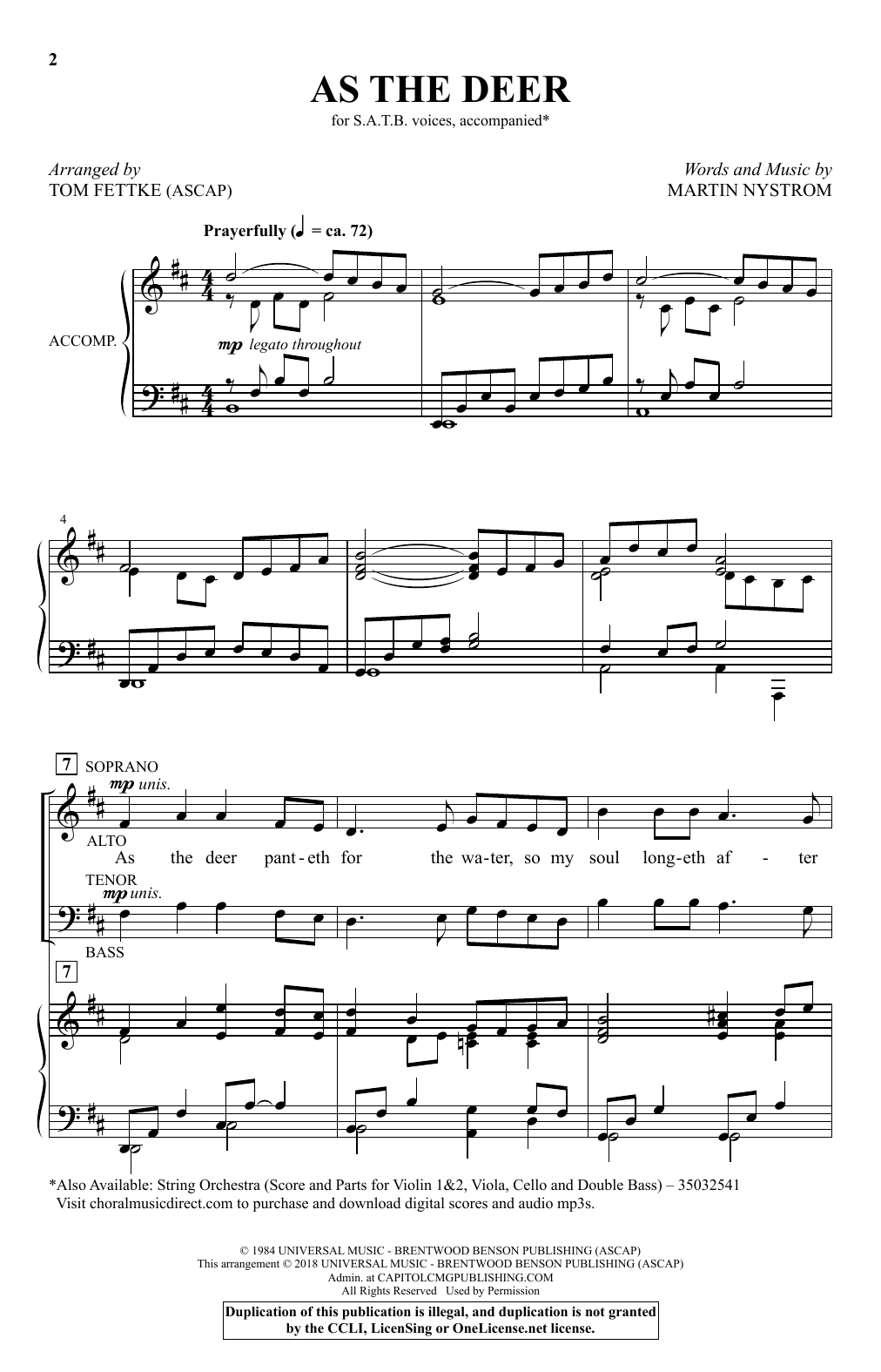 As the Deer (arr. Tom Fettke) (SATB Choir)