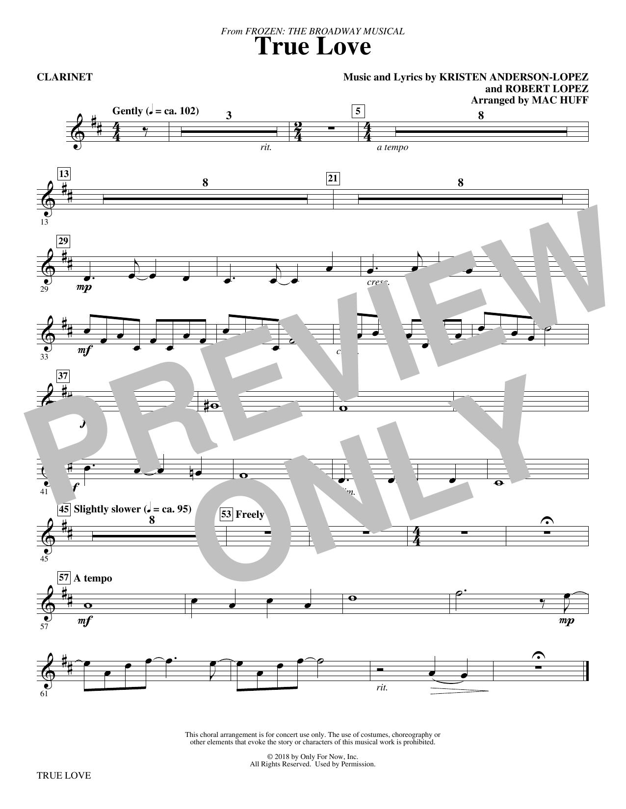 True Love (from Frozen: the Broadway Musical) (Arr. Mac Huff) - Clarinet (Choir Instrumental Pak)