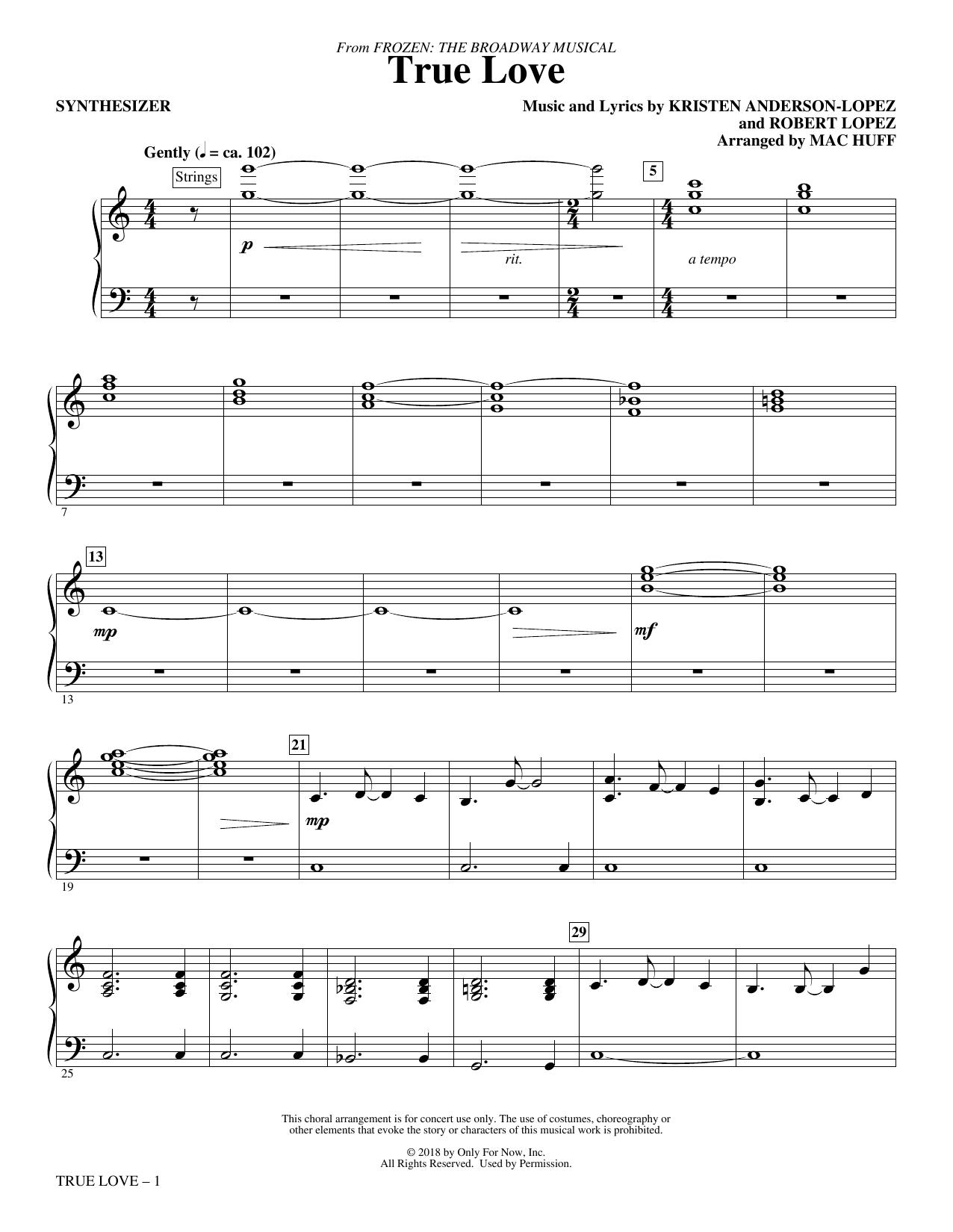 True Love (from Frozen: the Broadway Musical) (Arr. Mac Huff) - Synthesizer (Choir Instrumental Pak)