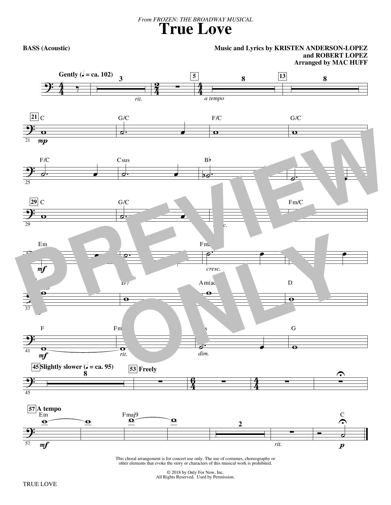 True Love (from Frozen: the Broadway Musical) (Arr. Mac Huff) - Bass (Choir Instrumental Pak)