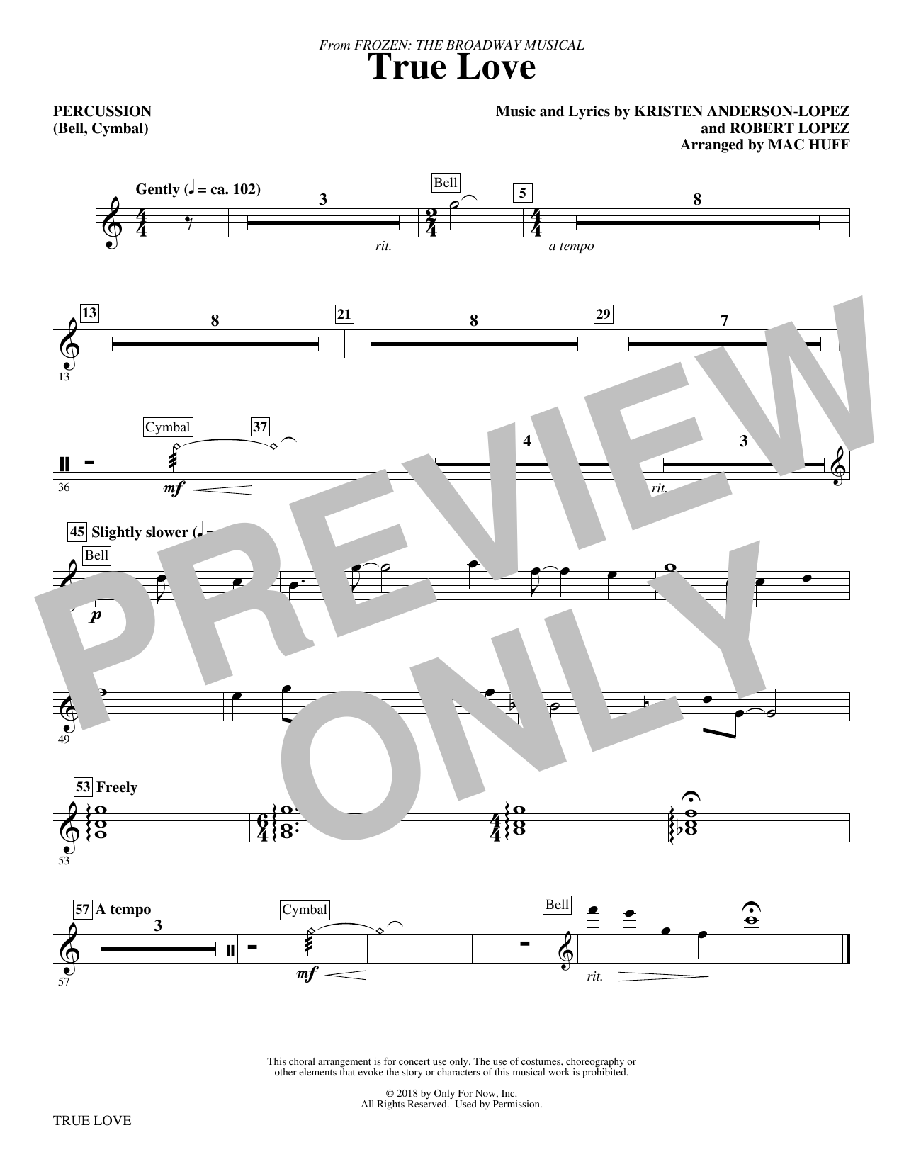 True Love (from Frozen: the Broadway Musical) (Arr. Mac Huff) - Percussion (Choir Instrumental Pak)