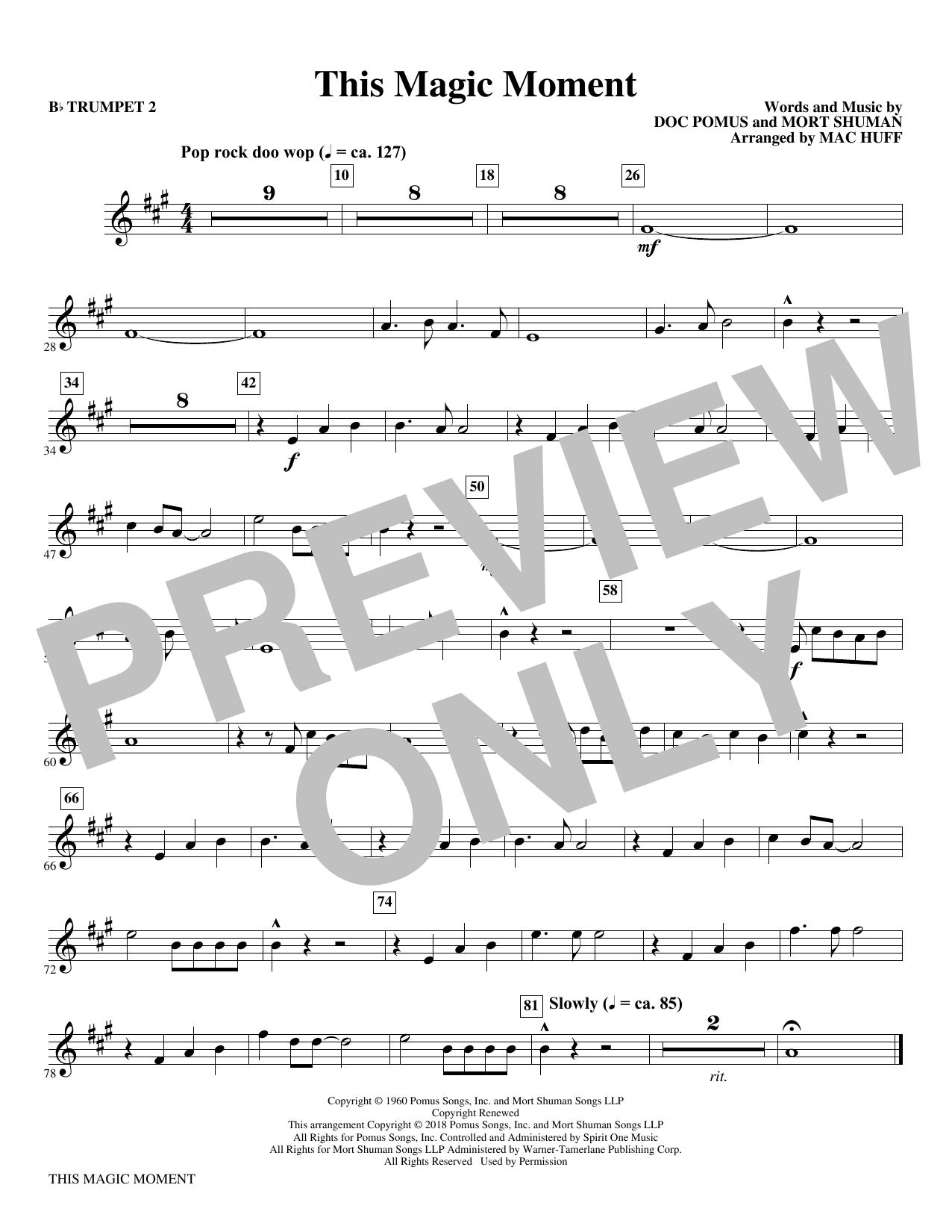 This Magic Moment  (Arr. Mac Huff) - Bb Trumpet 2 (Choir Instrumental Pak)