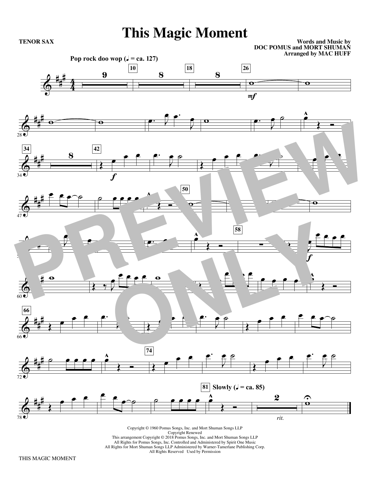 This Magic Moment  (Arr. Mac Huff) - Bb Tenor Saxophone (Choir Instrumental Pak)